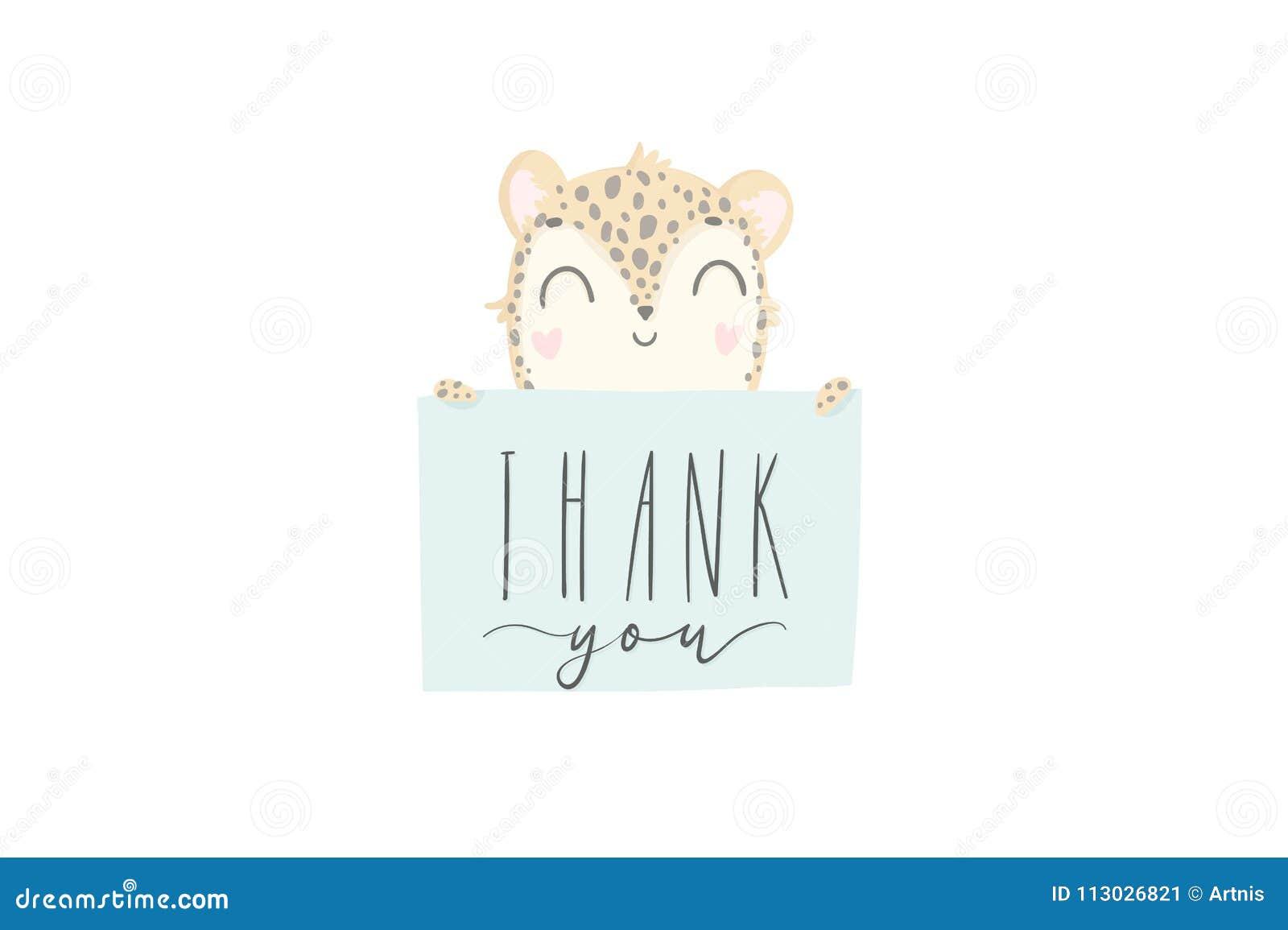 Gracias usted tarjeta de felicitación con el leopardo dibujado mano linda del bebé