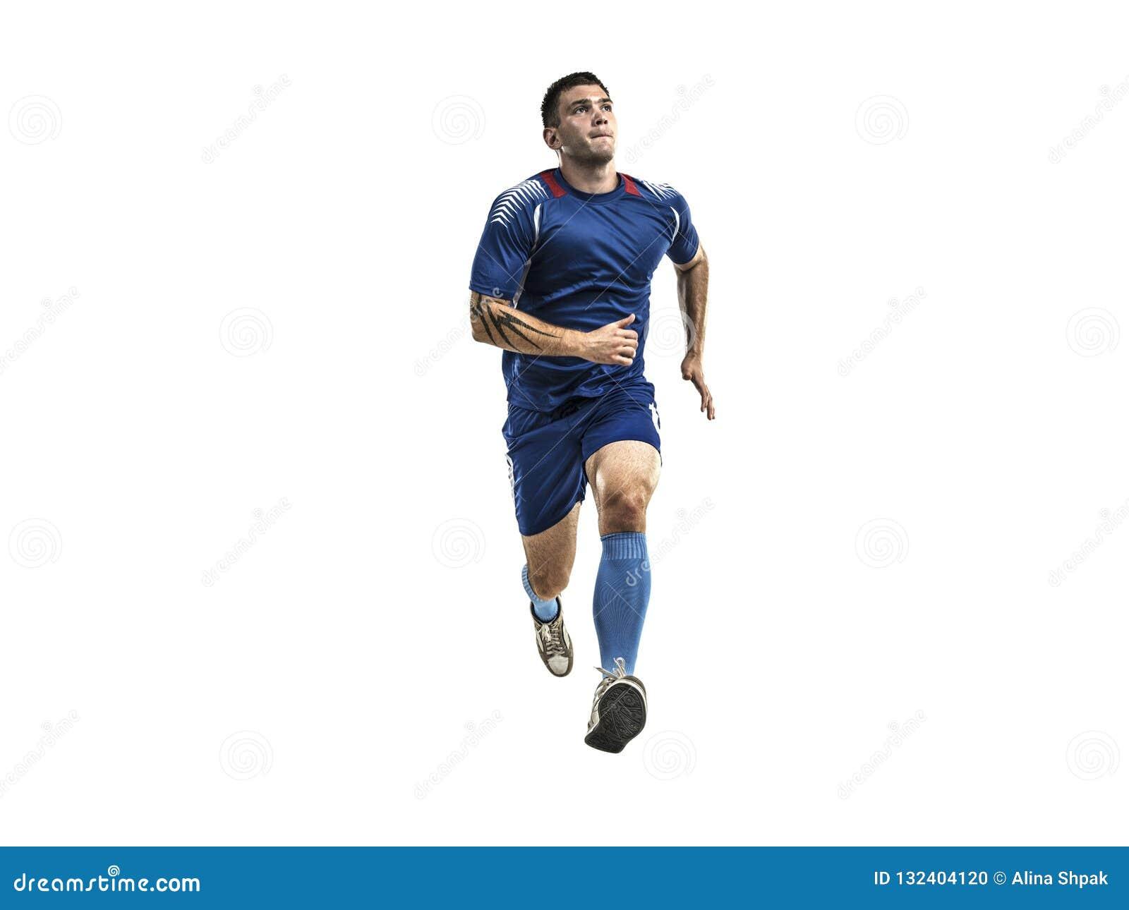 Gracz piłki nożnej w błękita munduru bieg na białym odosobnieniu