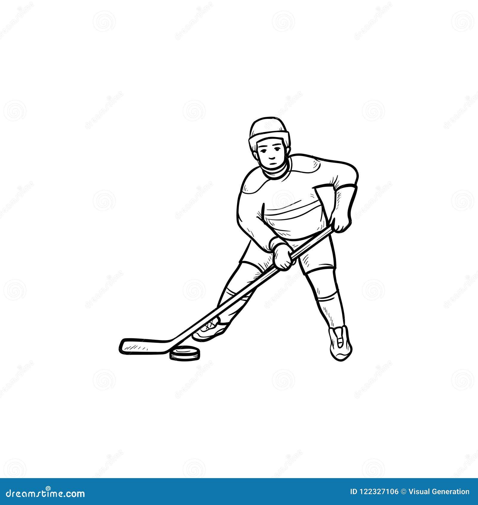 Gracz w hokeja konturu doodle ręka rysująca ikona