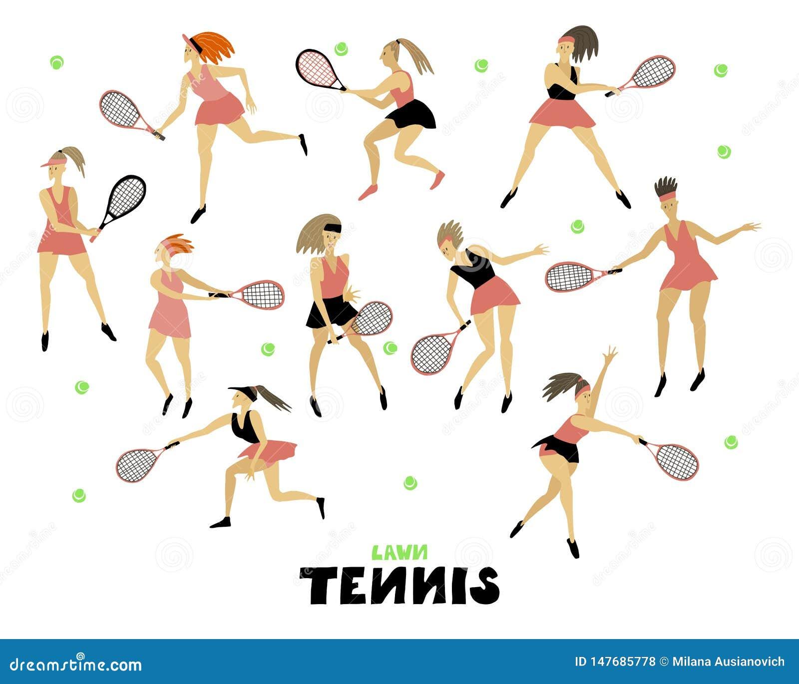Gracz w tenisa dziewczyna ustawiająca kobieta z kanta i piłki Ludzką postacią w ruch Freehand wektorowej ilustracji