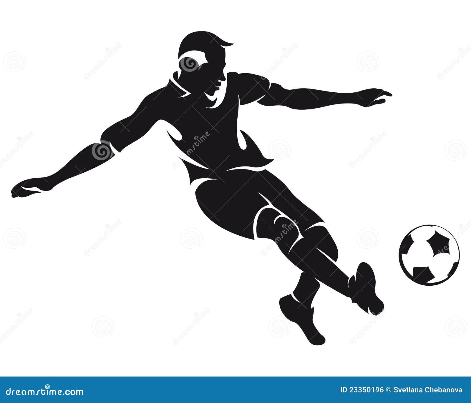 Gracza futbolu sylwetki piłki nożnej wektor