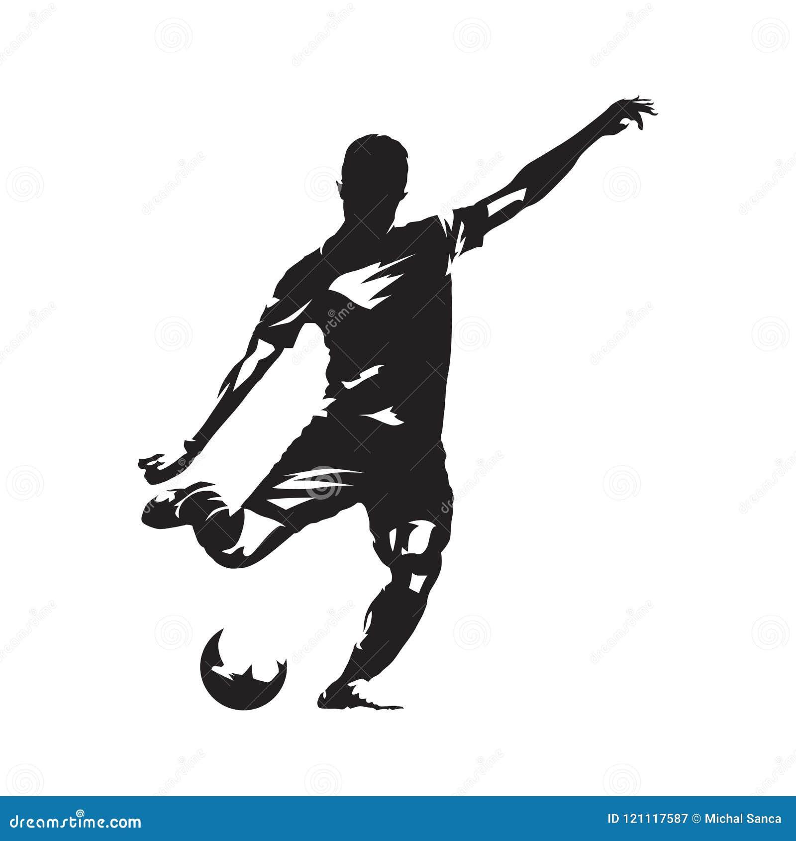 Gracza piłki nożnej kopania piłka, odosobniony wektorowy slhouette Fooballer