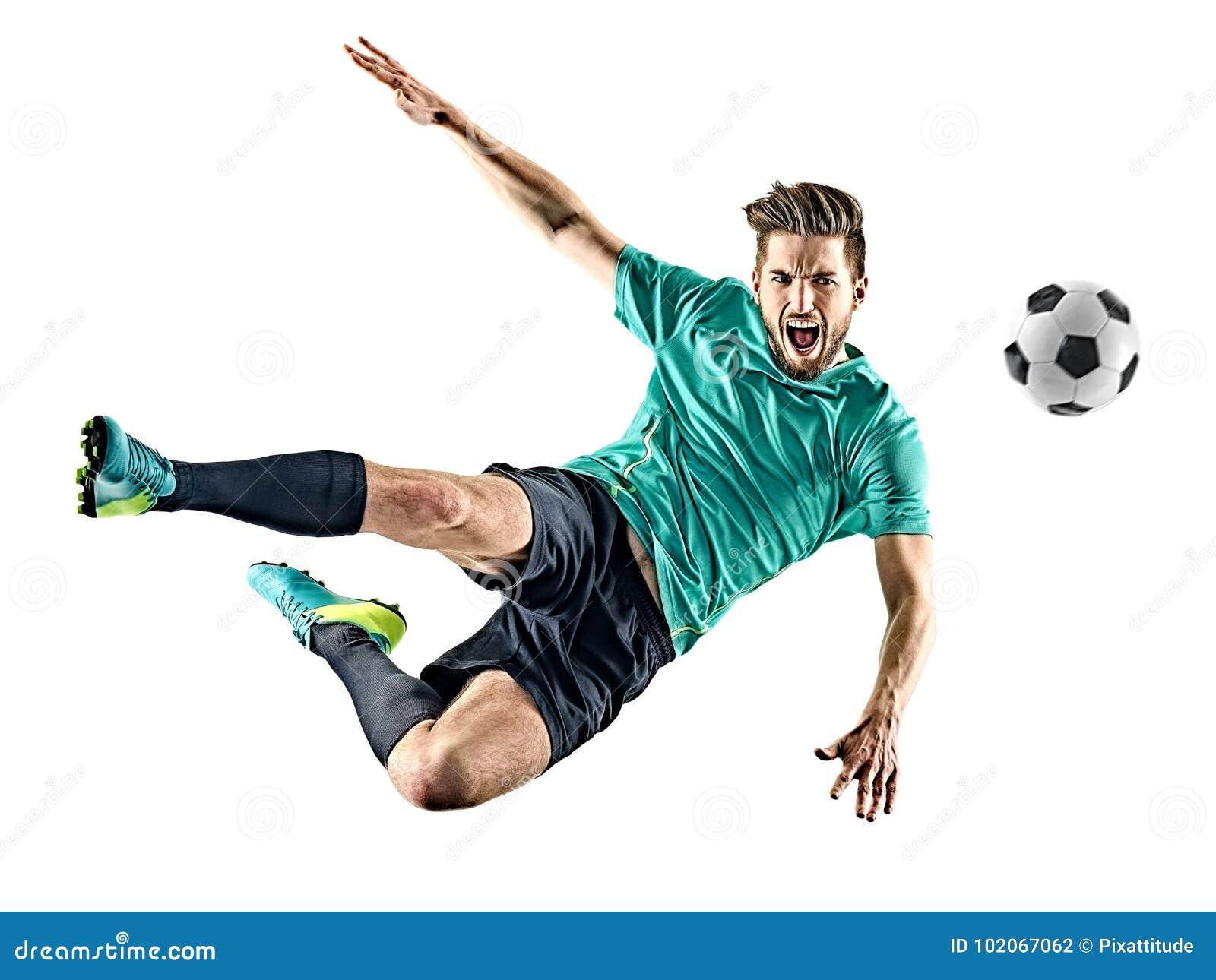 Gracza piłki nożnej mężczyzna Odizolowywający