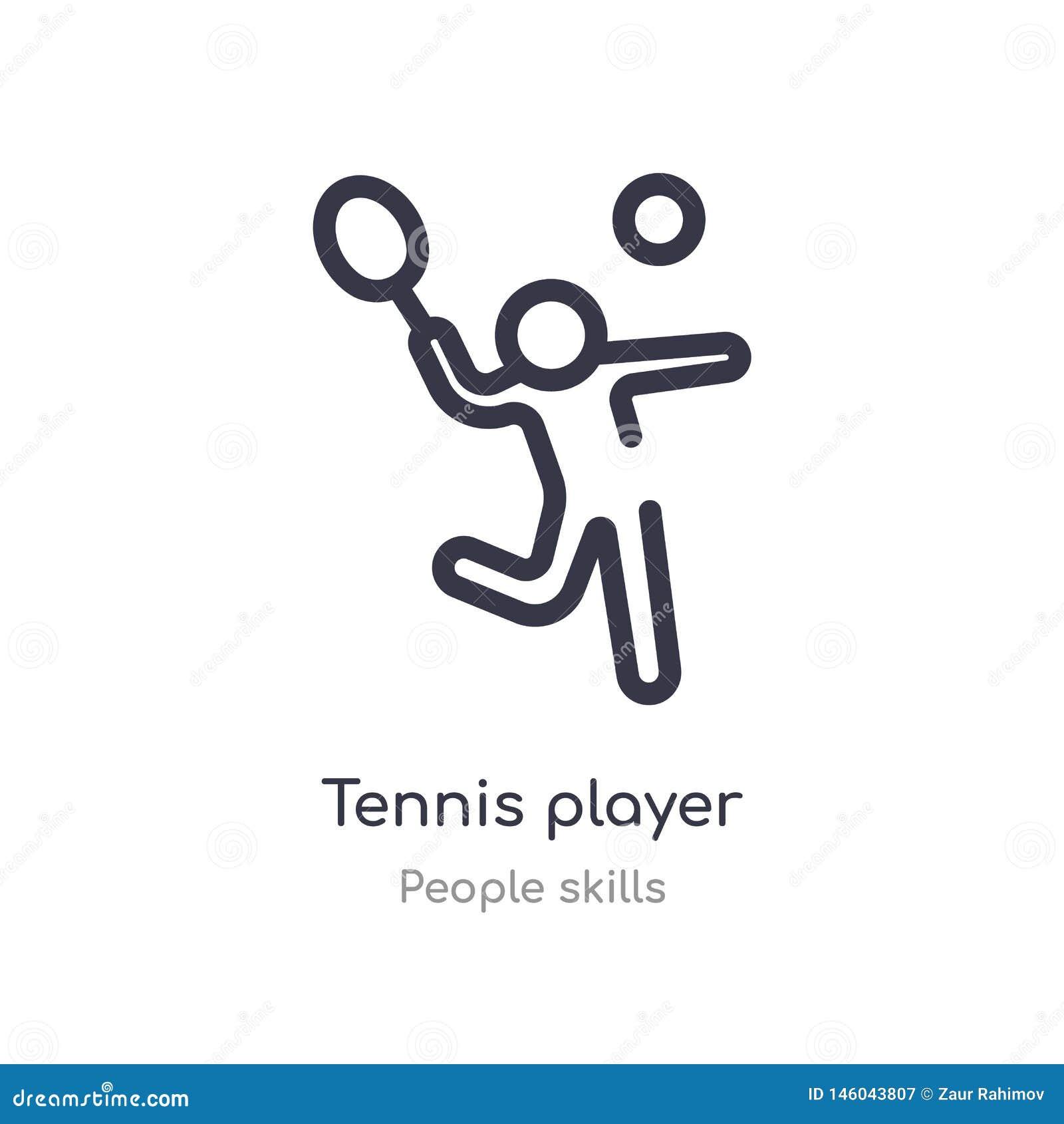 Gracza w tenisa konturu ikona odosobniona kreskowa wektorowa ilustracja od ludzi umiej?tno?ci inkasowych editable cienieje uderze