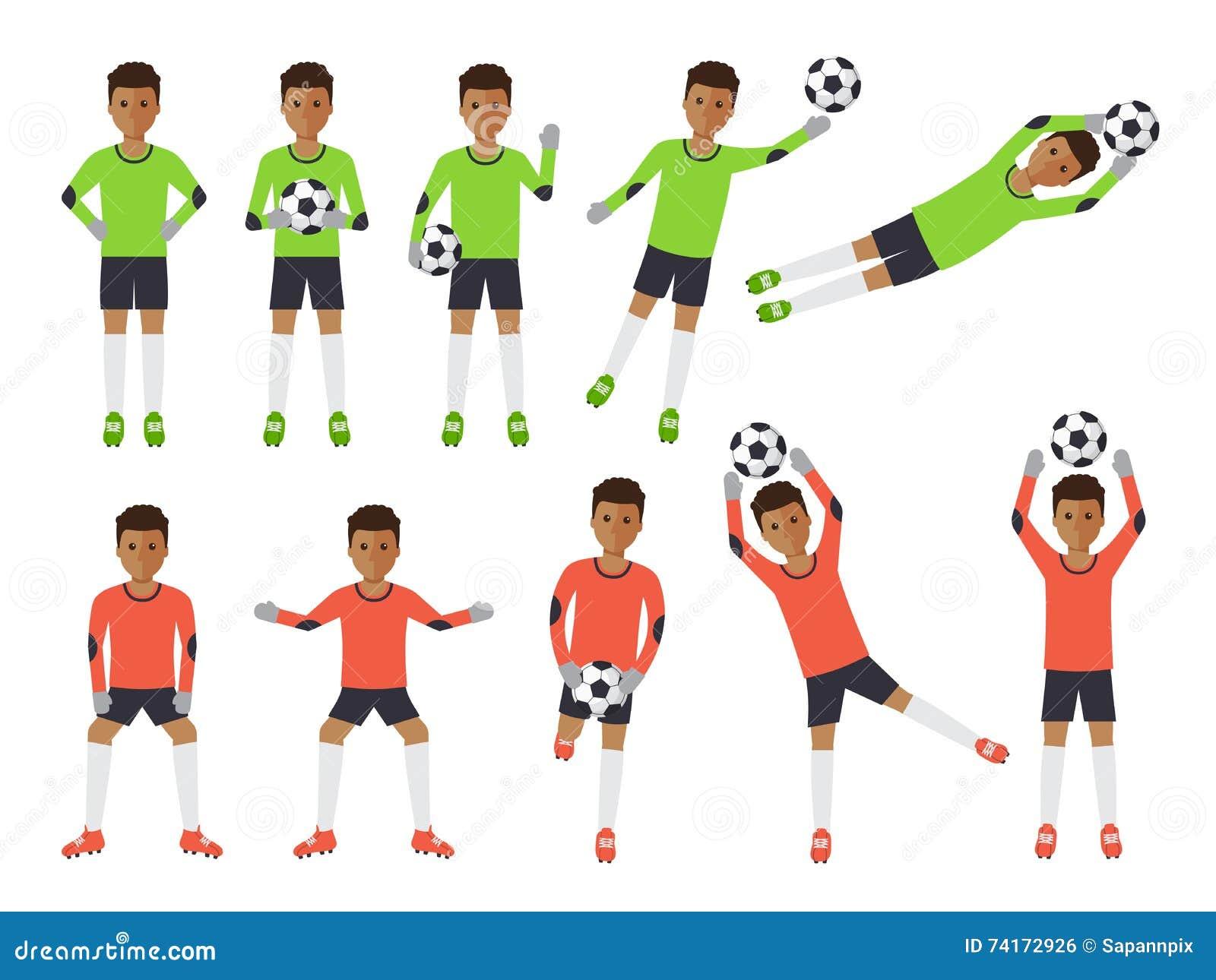 Gracze piłki nożnej, futbolowy bramkarz w akcjach