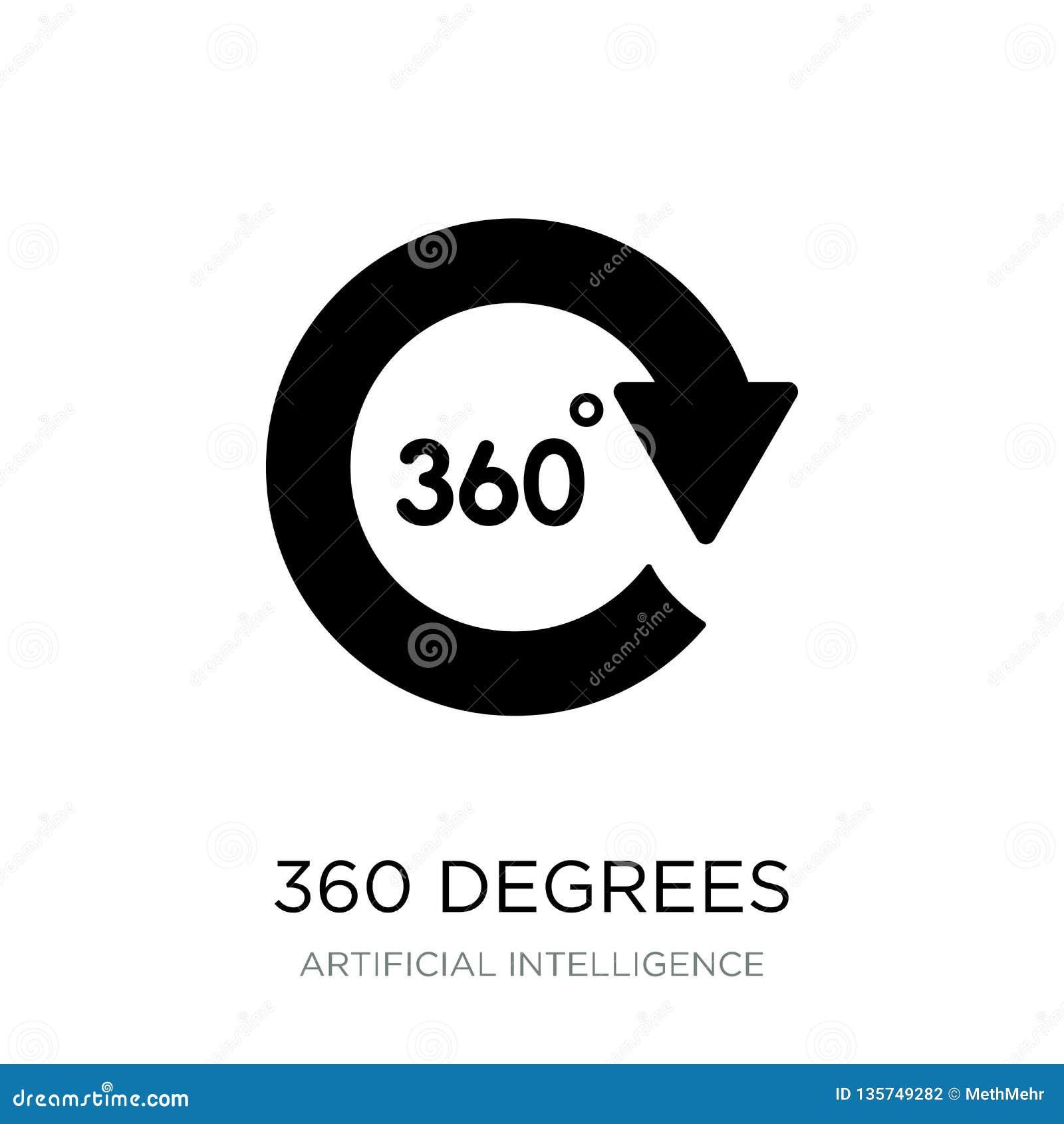 360 Grad Ikone in der modischen Entwurfsart 360 Grad Ikone lokalisiert auf weißem Hintergrund 360 Grad Vektorikone einfach und mo