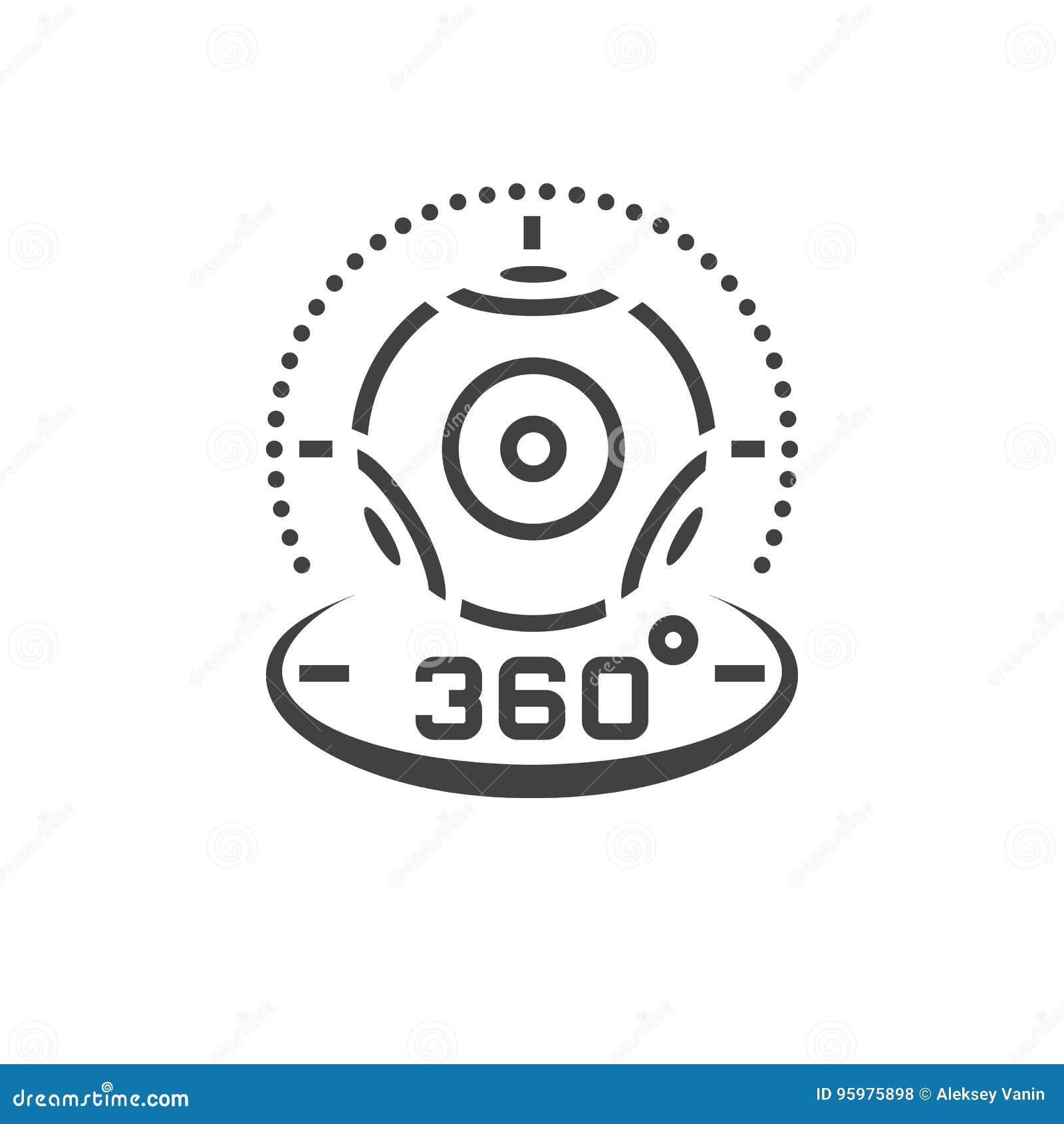 360 grad panorama- videokameralinje symbol, virtuell verklighetbärare