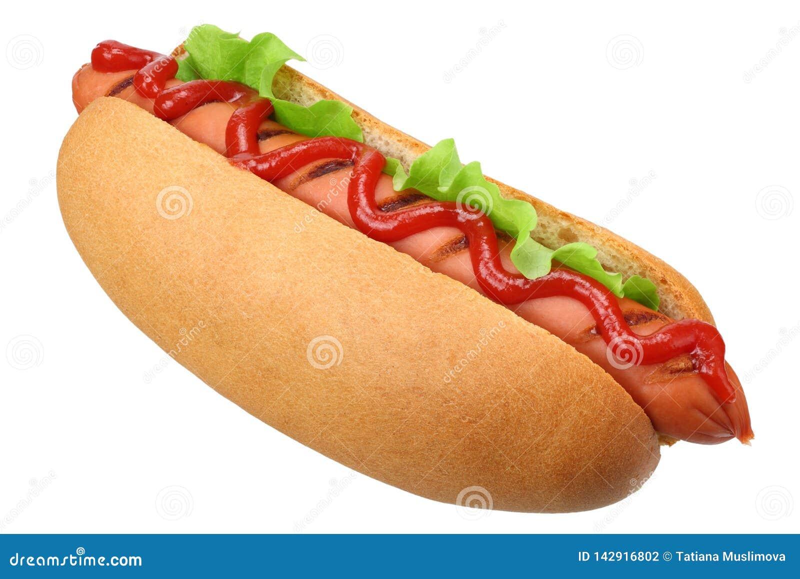 Grade do cachorro quente com a alface isolada no fundo branco Fast food