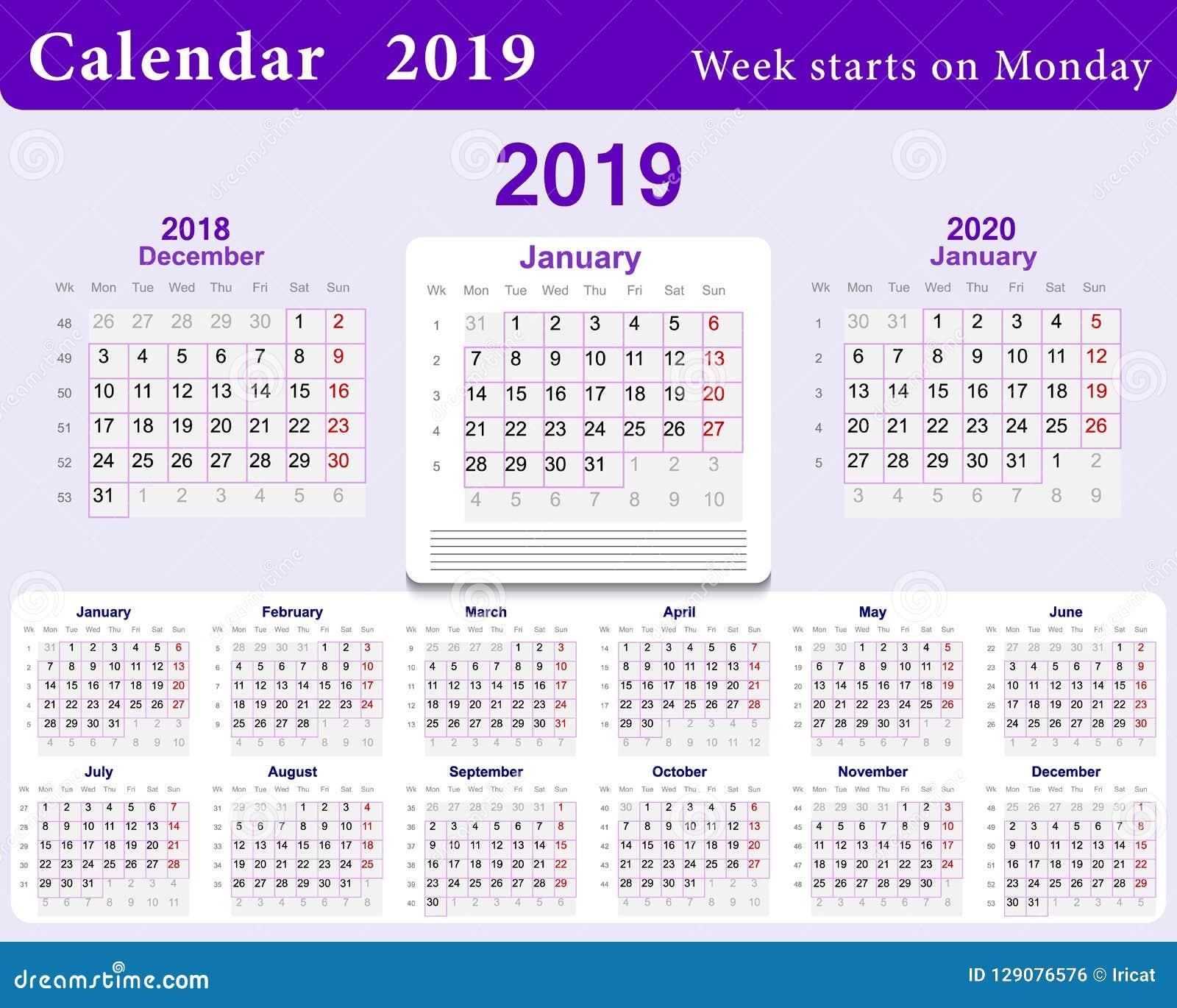 Calendario Dezembro 2019 Janeiro 2020.Grade Do Calendario Para 2019 Na Lingua Inglesa Molde Da