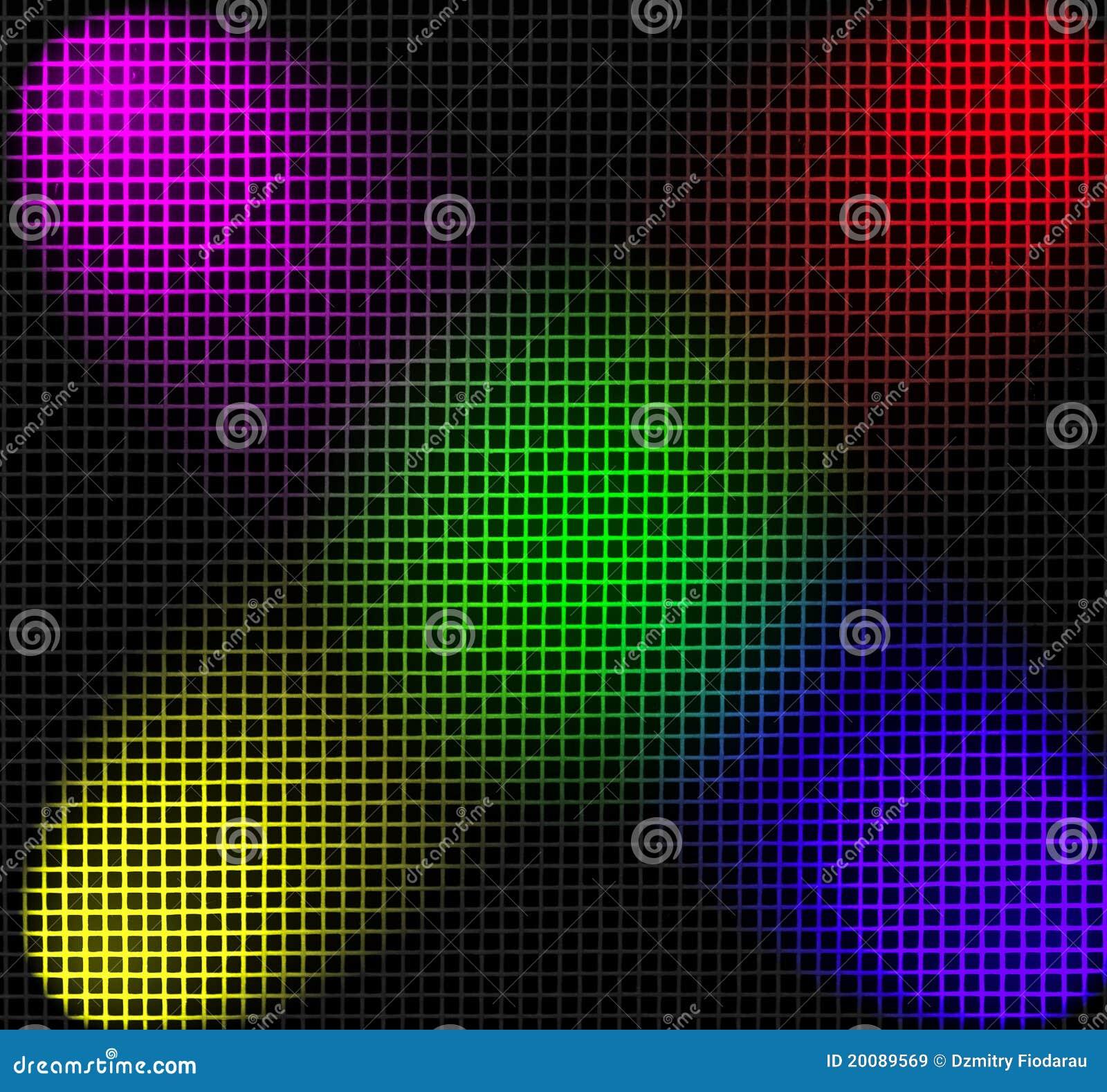 Grade iluminada por projetores da cor
