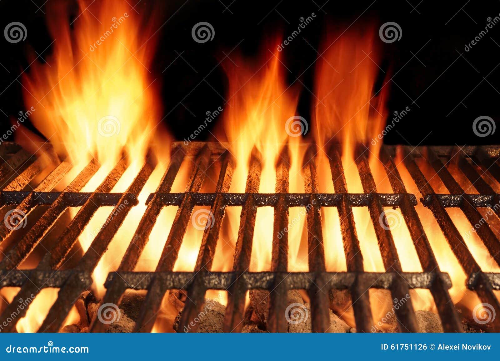Grade quente do ferro fundido vazio do BBQ com fogo ardente do carvão vegetal