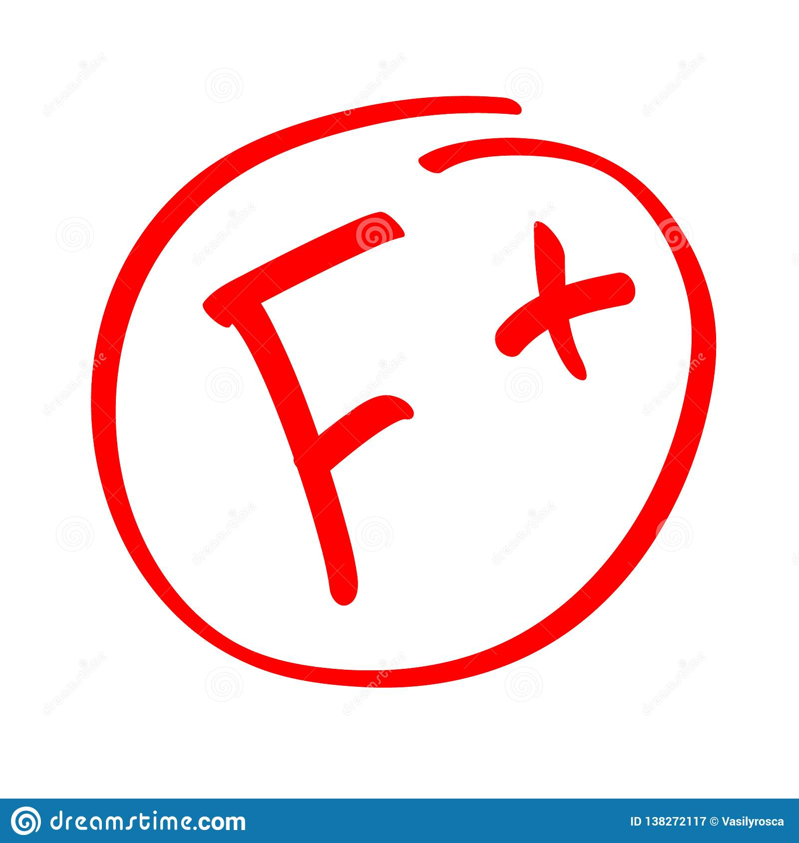 Grade Result F Hand Drawn Vector Grade F In Red Circle Test Exam Mark Report