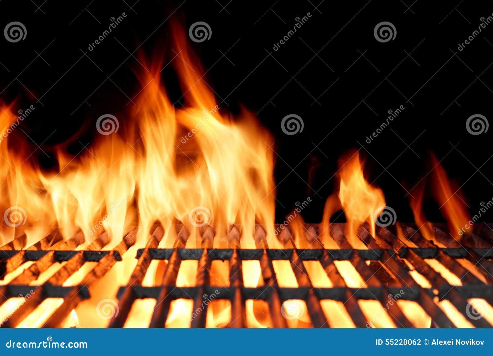 Grade vazia quente do BBQ do carvão vegetal com chamas brilhantes