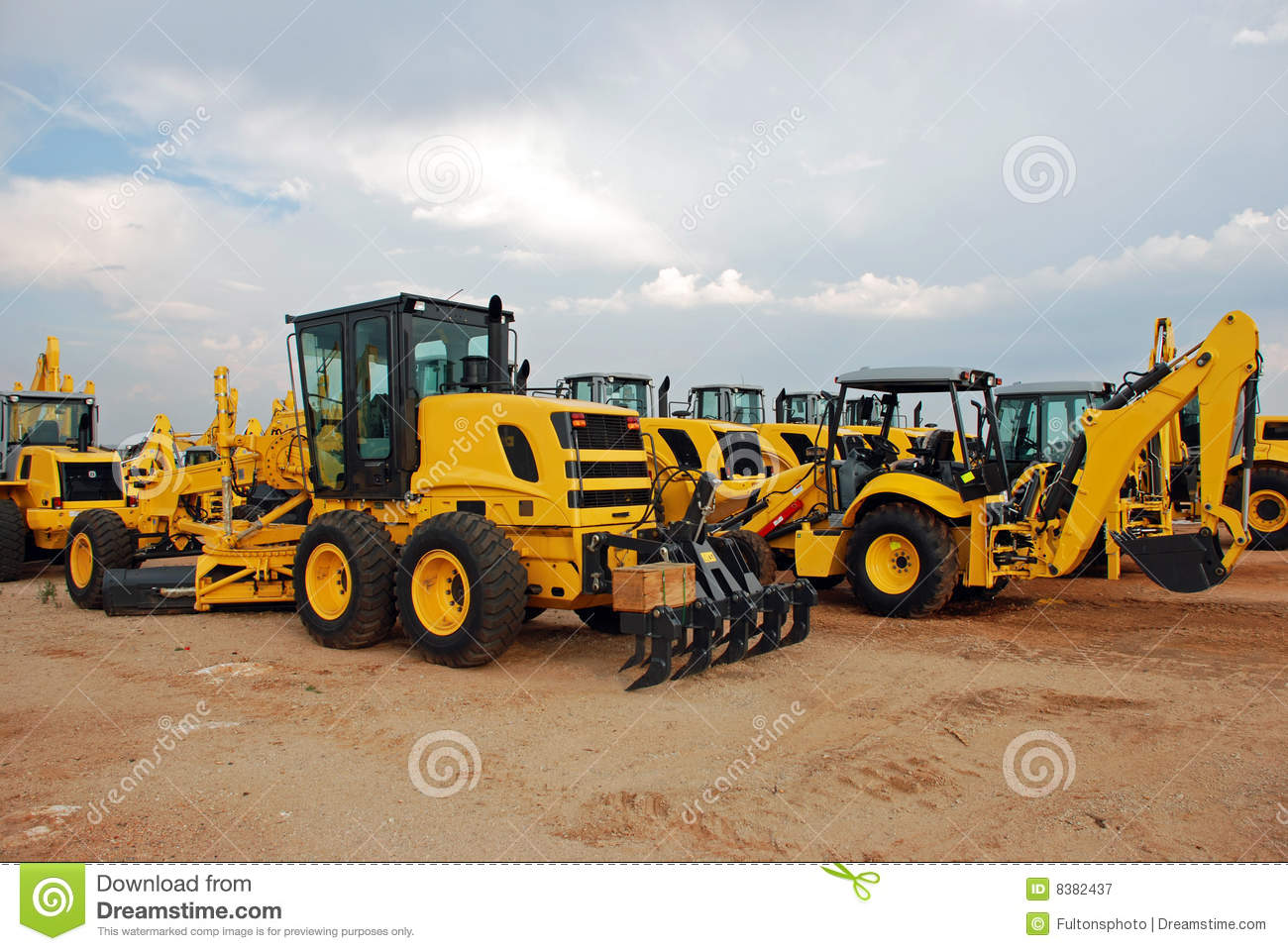 Grader and Excavator Construction Equipment Yard
