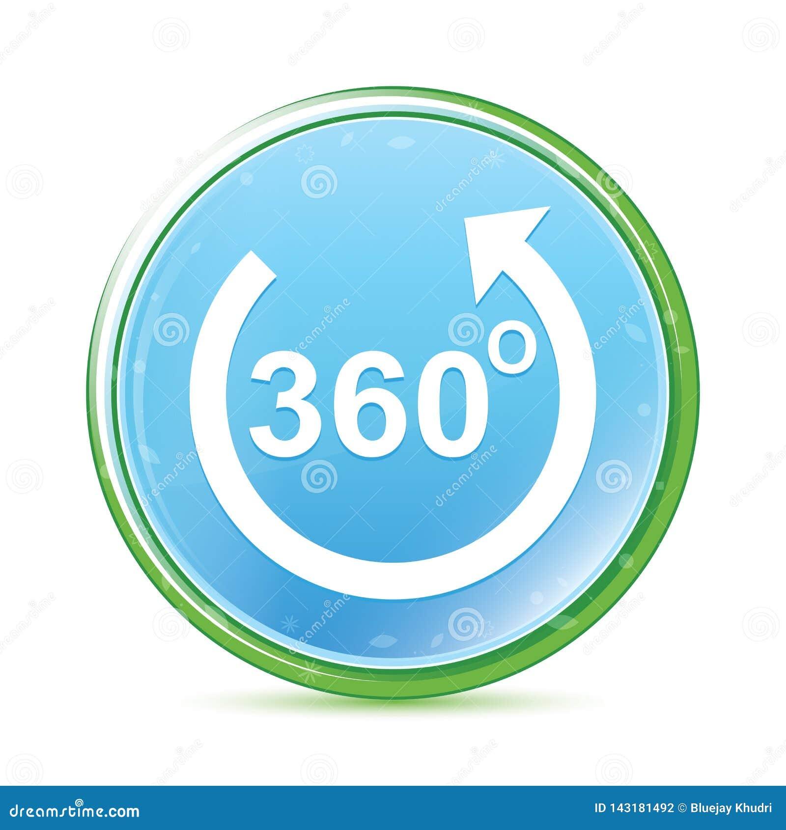 360 grader roterar knappen för naturlig aqua för pilsymbolen den cyan blåa runda
