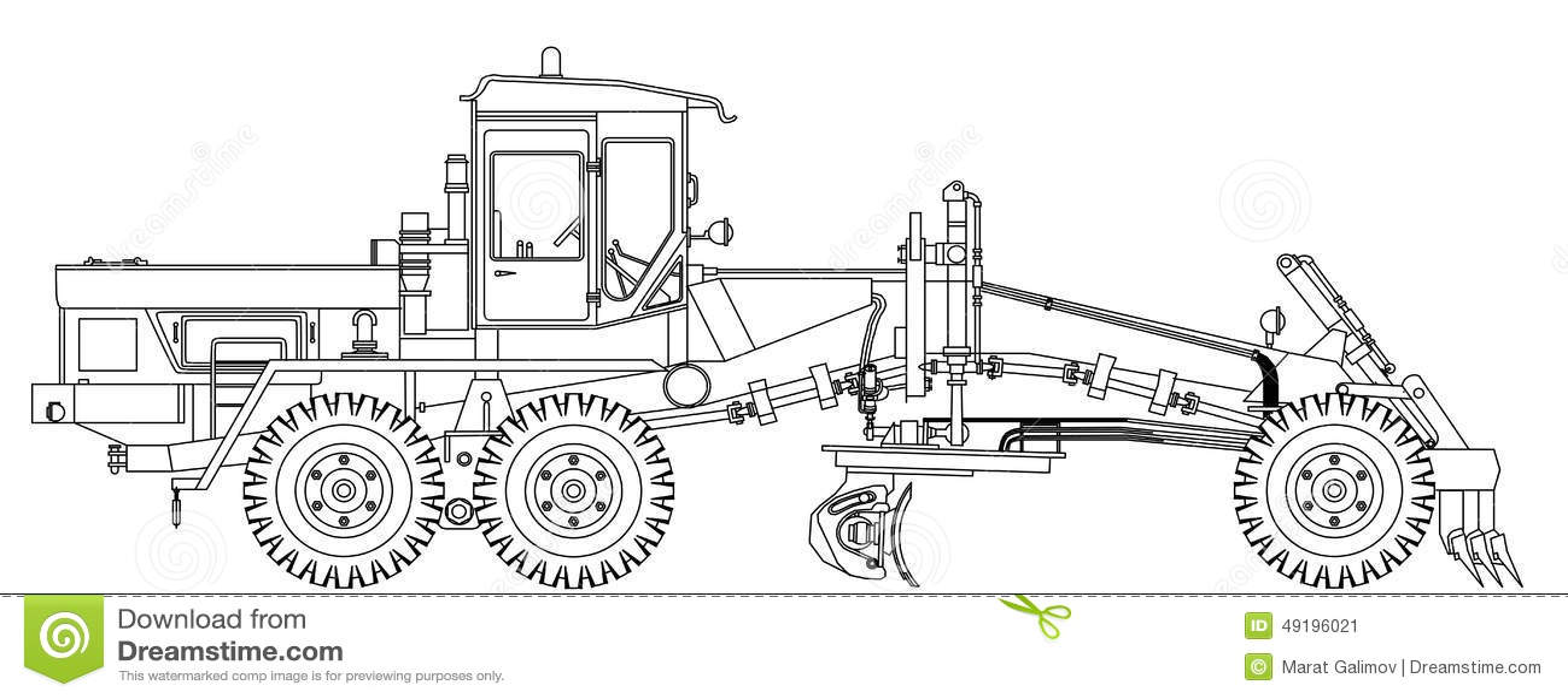 motolivellatrici grader Grader-technical-draw-vector-illustration-49196021