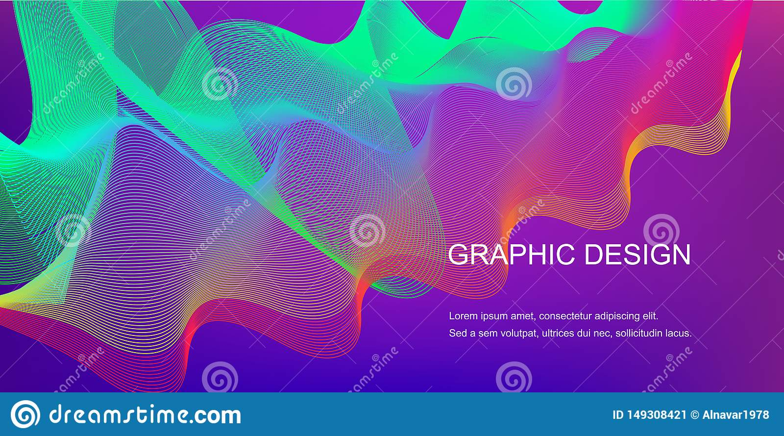 Gradient abstract background with dynamic linear waves