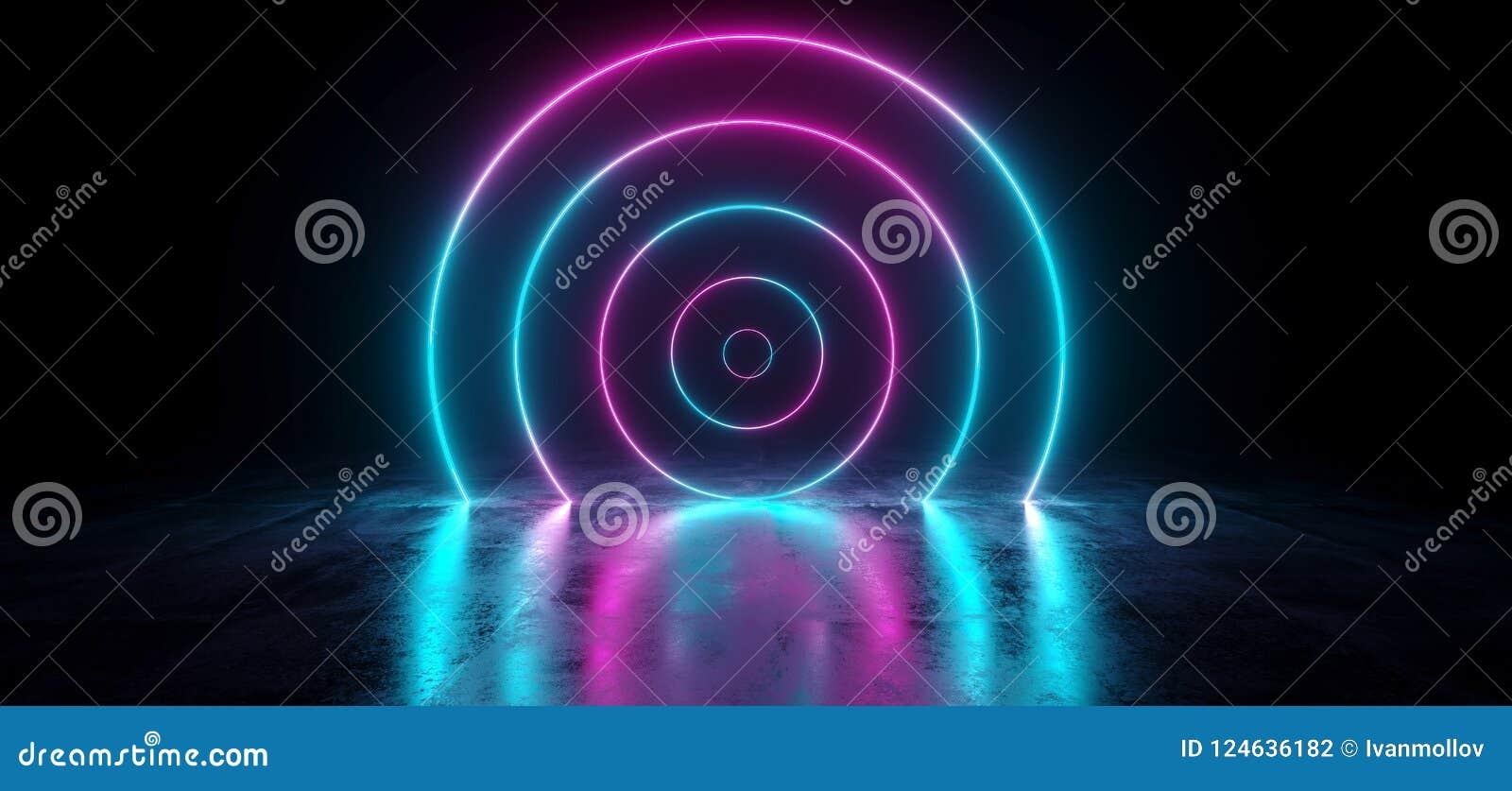 Gradient abstrait futuriste Glowin au néon rose pourpre bleu de la science fiction