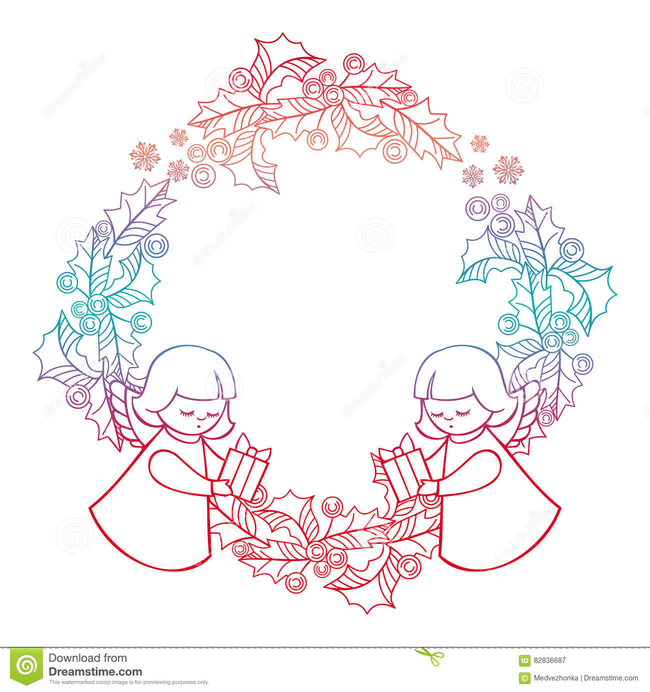gradient christmas frame with cute angels copy space christmas holiday background raster clip art