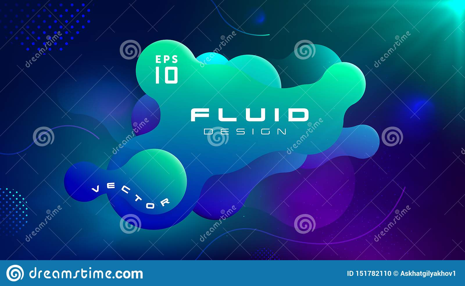 Gradient fluid blue green color abstract background. Liquid shapes futuristic concept. Creative motion dynamic fluid