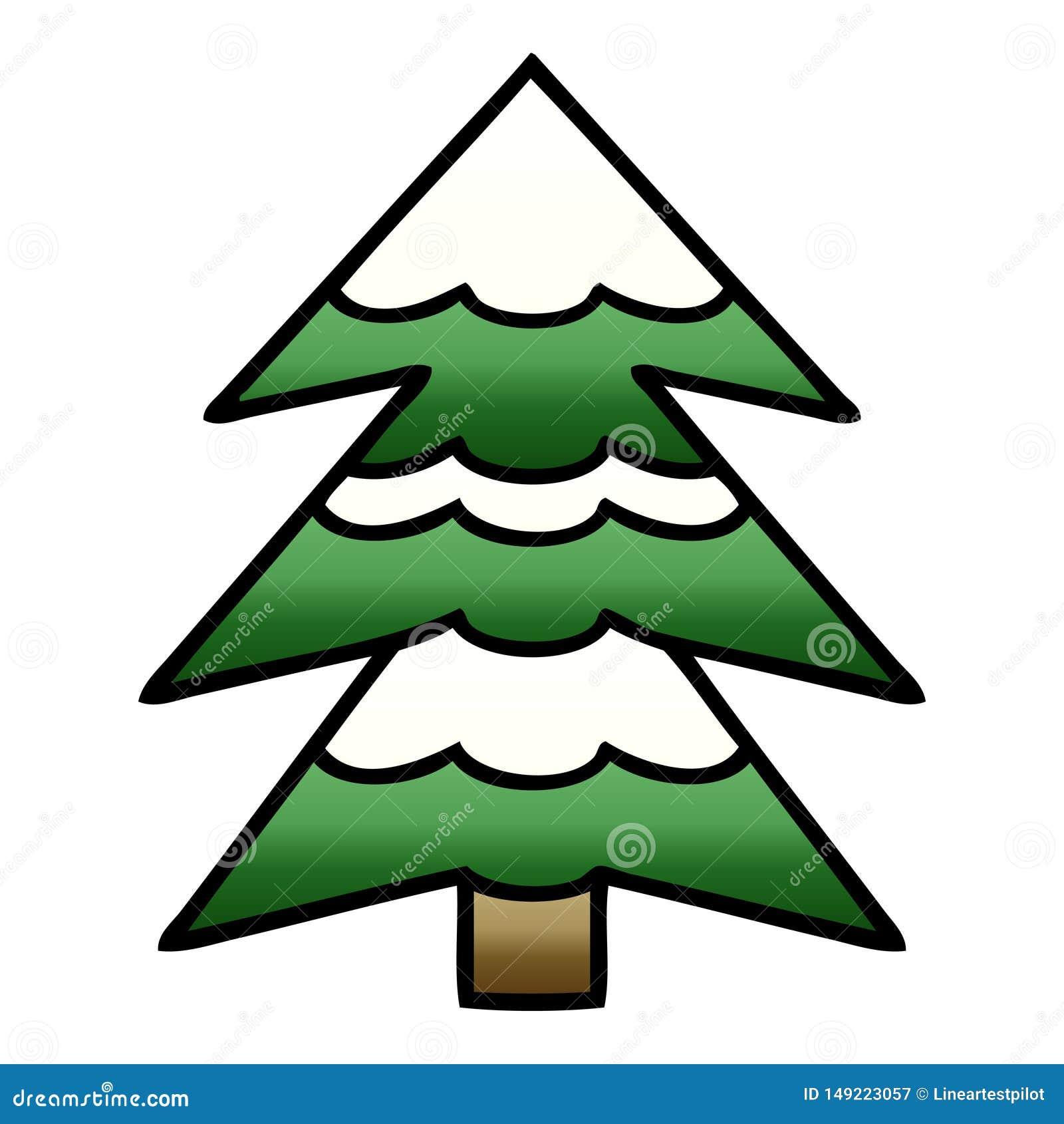 Gradient Shaded Cartoon Snow Covered Tree Stock Vector ...