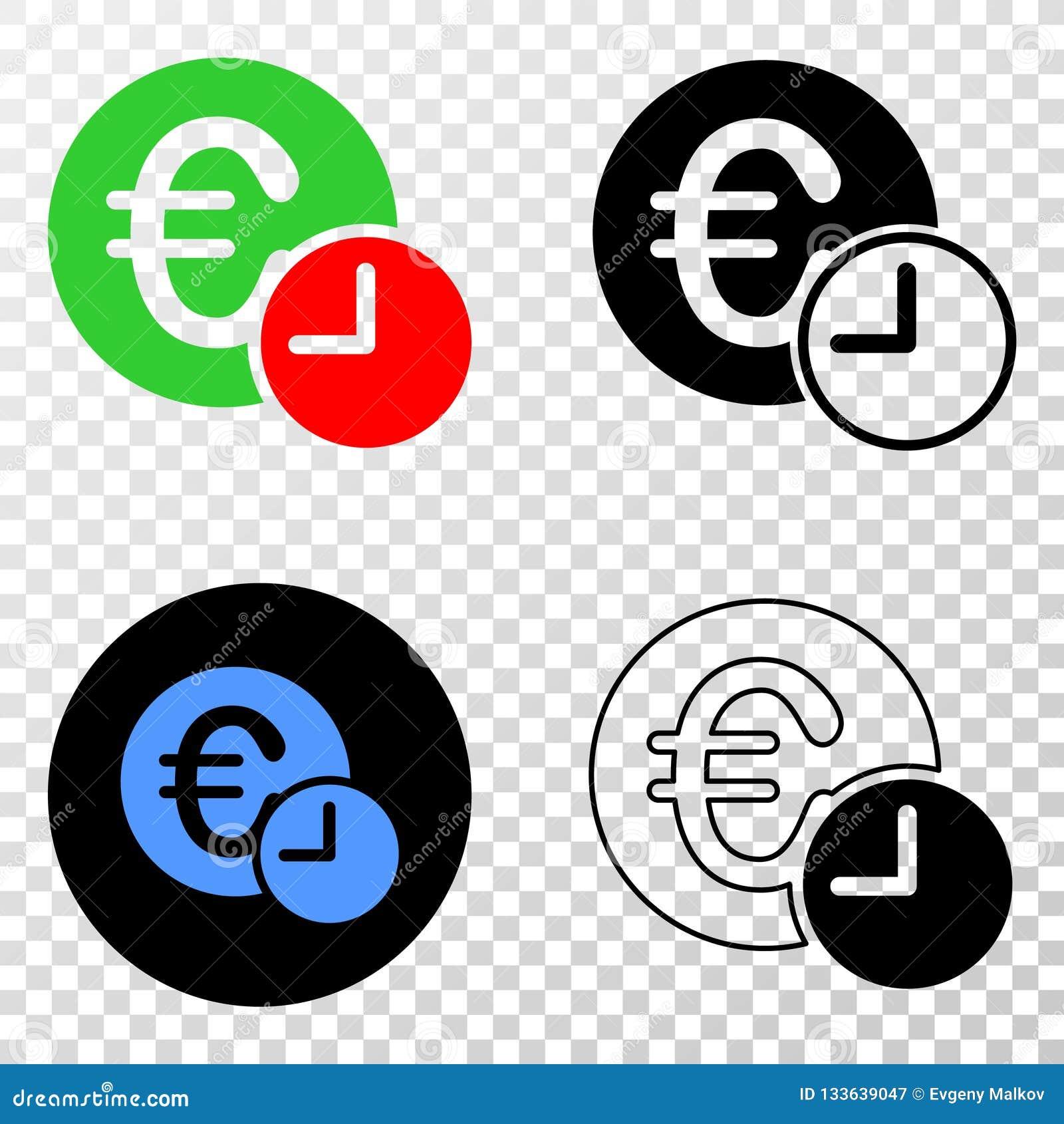 Gradiented拼贴画加点了欧元信用时间和Grunged邮票