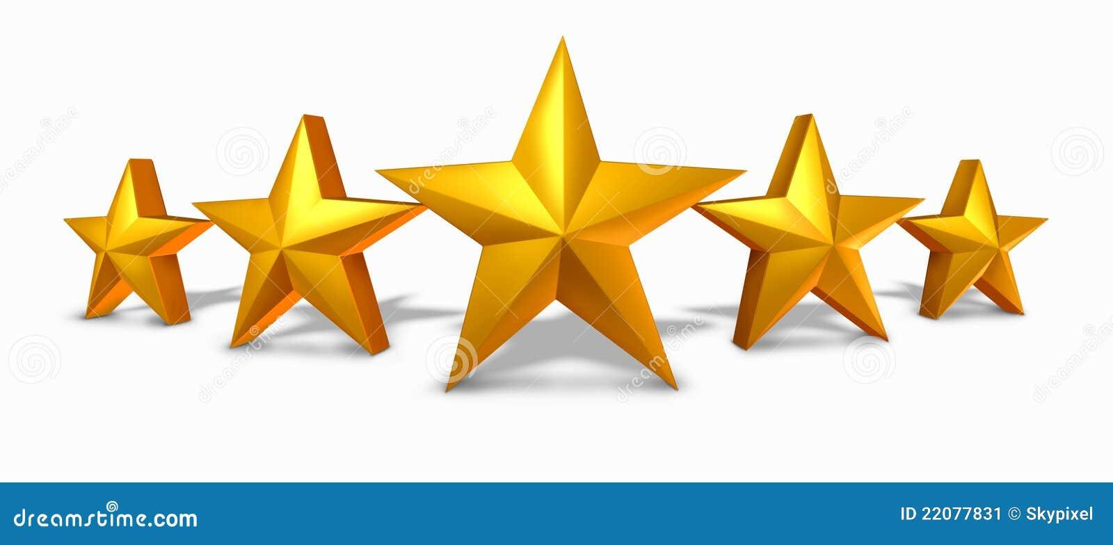 Grado de la estrella del oro con cinco estrellas de oro