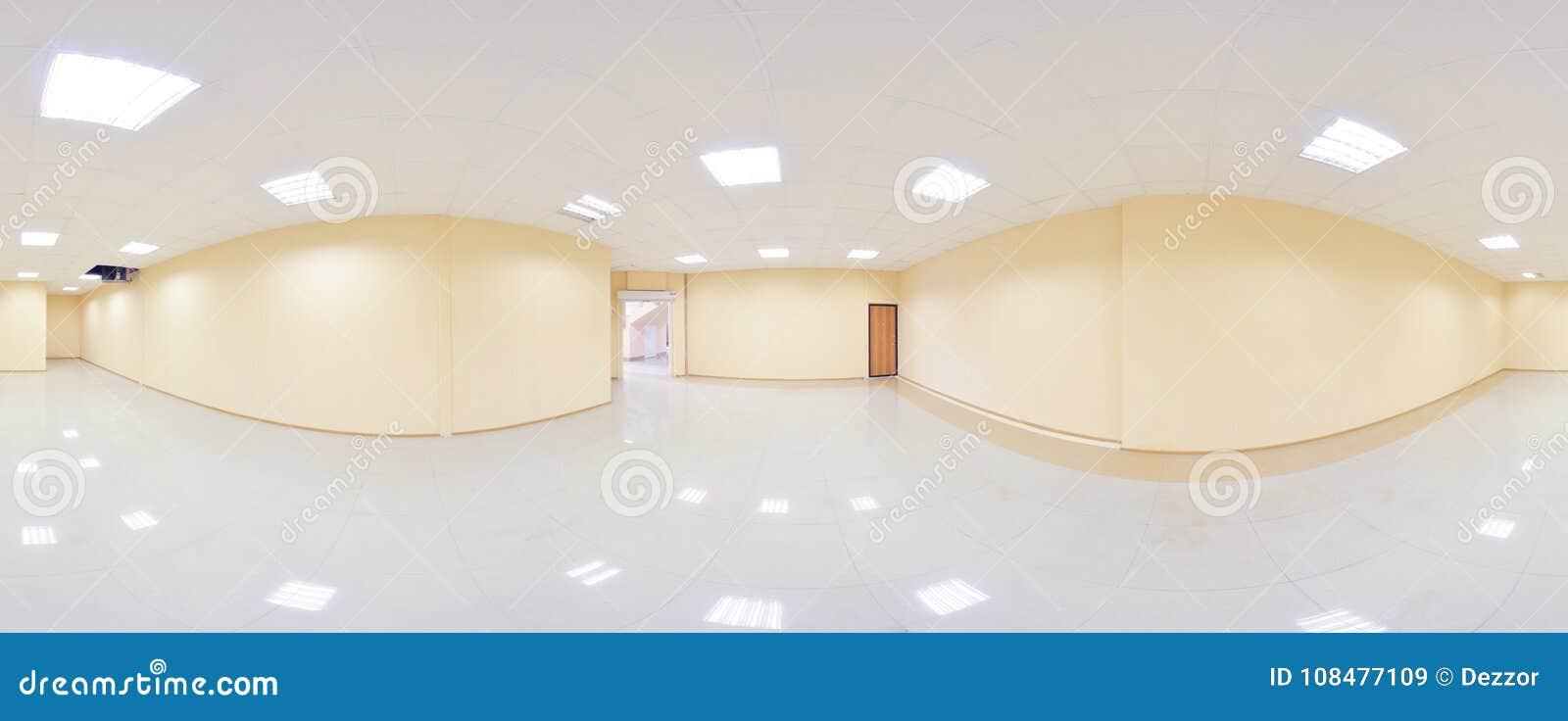 360 grados esféricos de la proyección del panorama, panorama en sitio vacío interior en apartamentos planos modernos