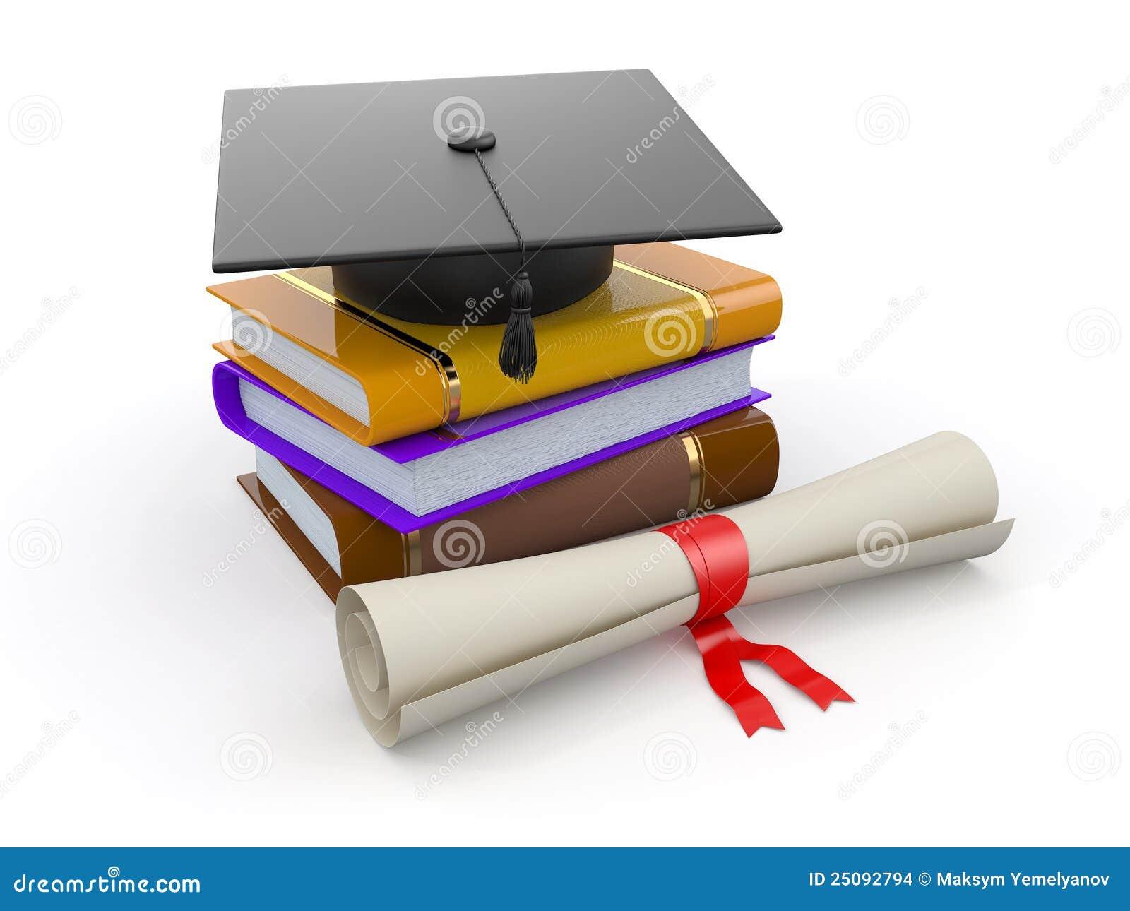 Graduação. Mortarboard, diploma e livros. 3d