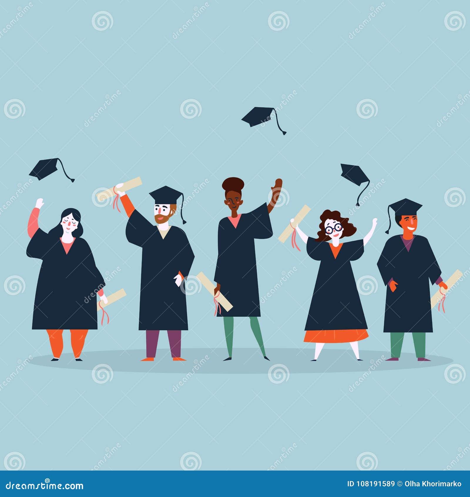 e4e204bfe Graduación de los estudiantes universitarios La gente joven en capas está  celebrando la conclusión de la educación en universidad y lanza los  casquillos de ...