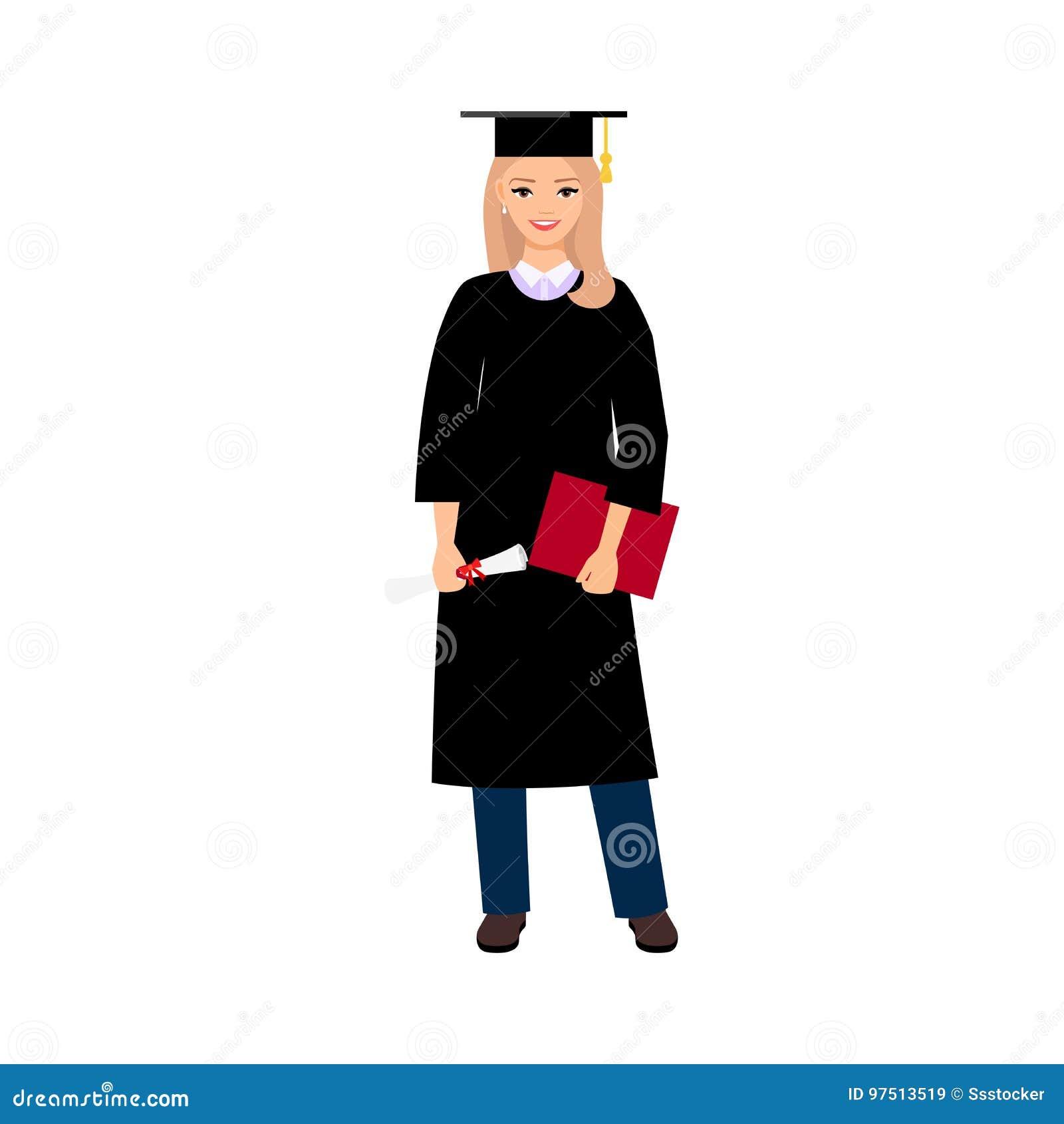 Graduado do estudante fêmea da universidade