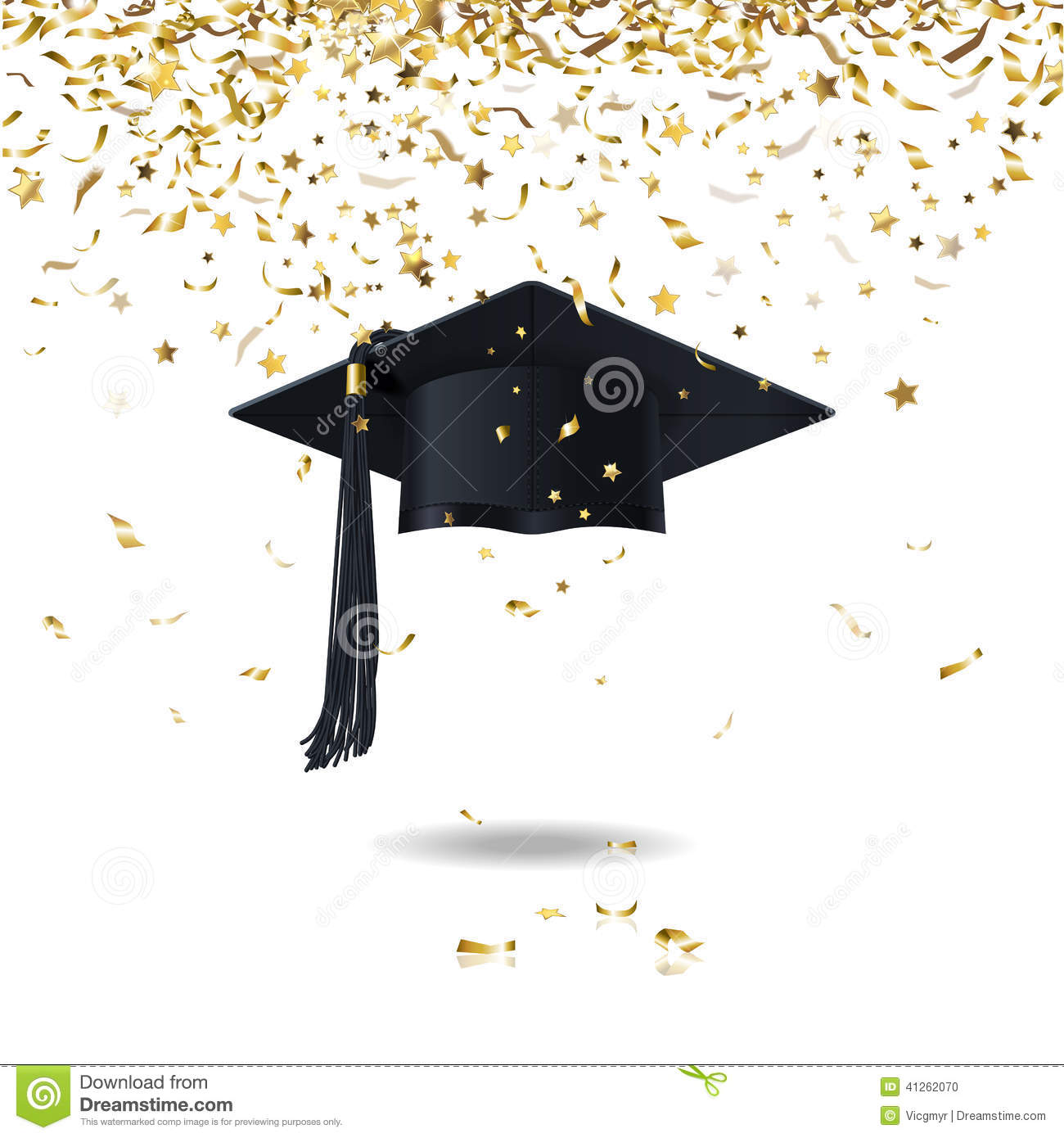 Graduate Cap And Confetti Stock Vector Illustration Of Decoration