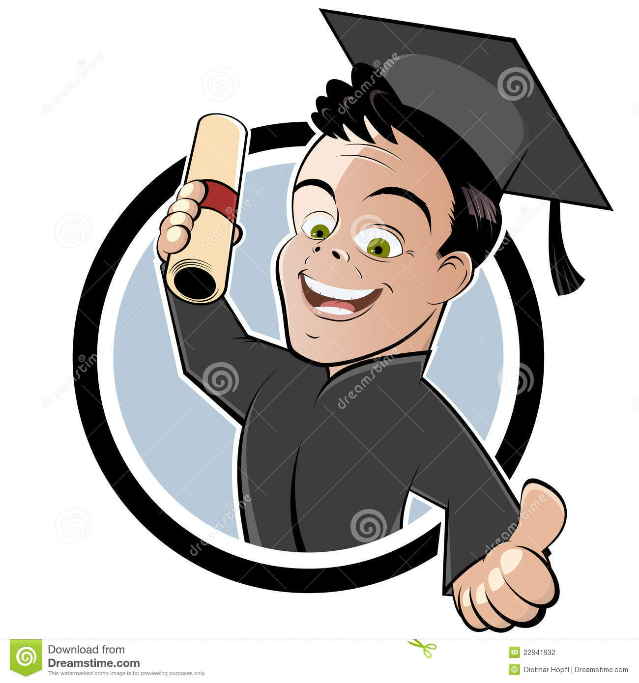 Graduate with Cap and Gown stock vector. Illustration of smiling ...