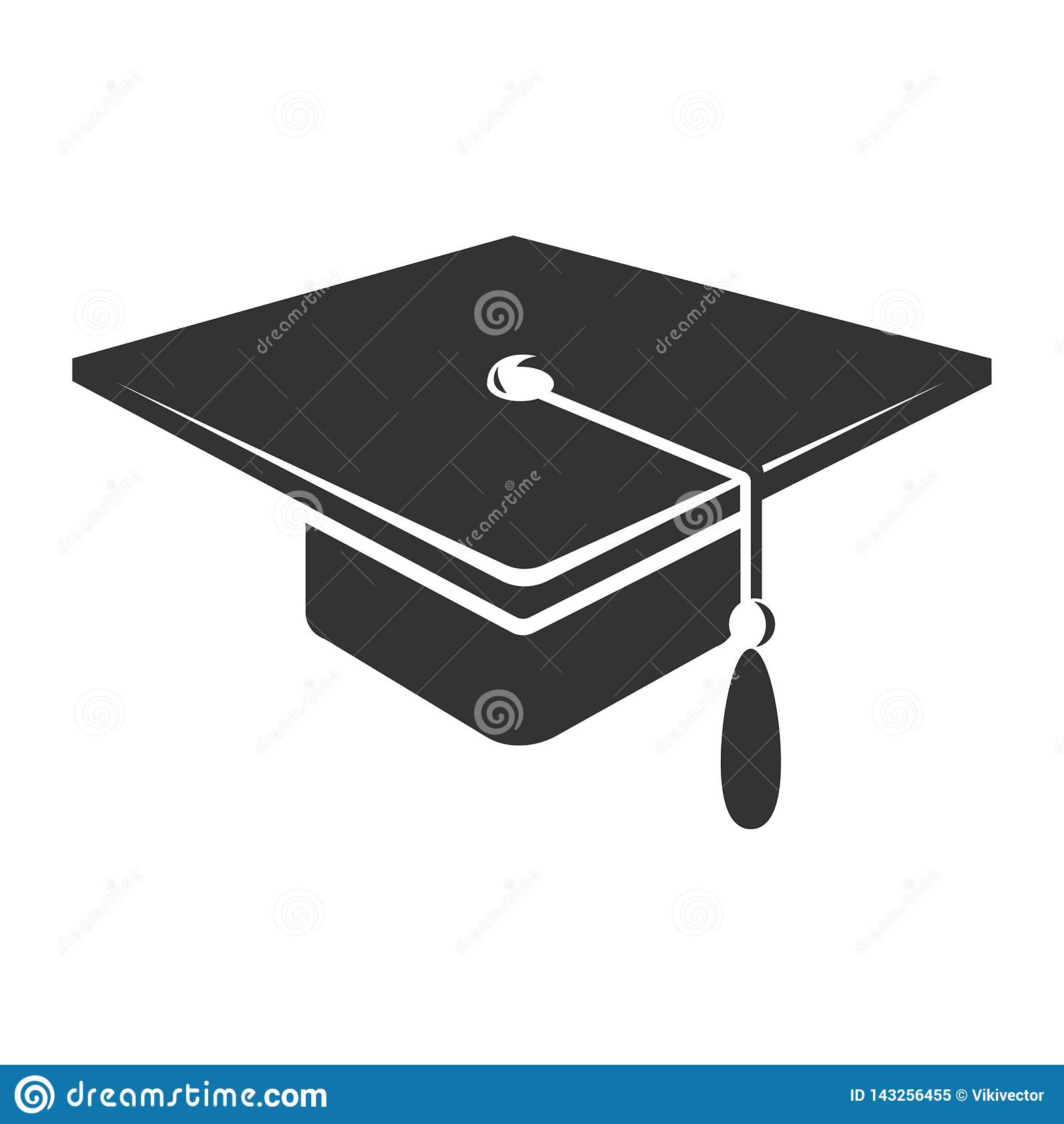c8030cf43 Graduate cap with tassel icon, black academy symbol. University hat. Vector  line art illustration isolated on white background