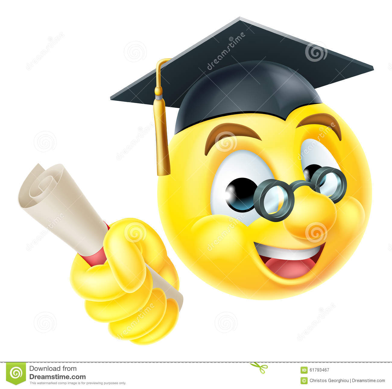 Graduate Graduation Emoji Emoticon Stock Vector Image