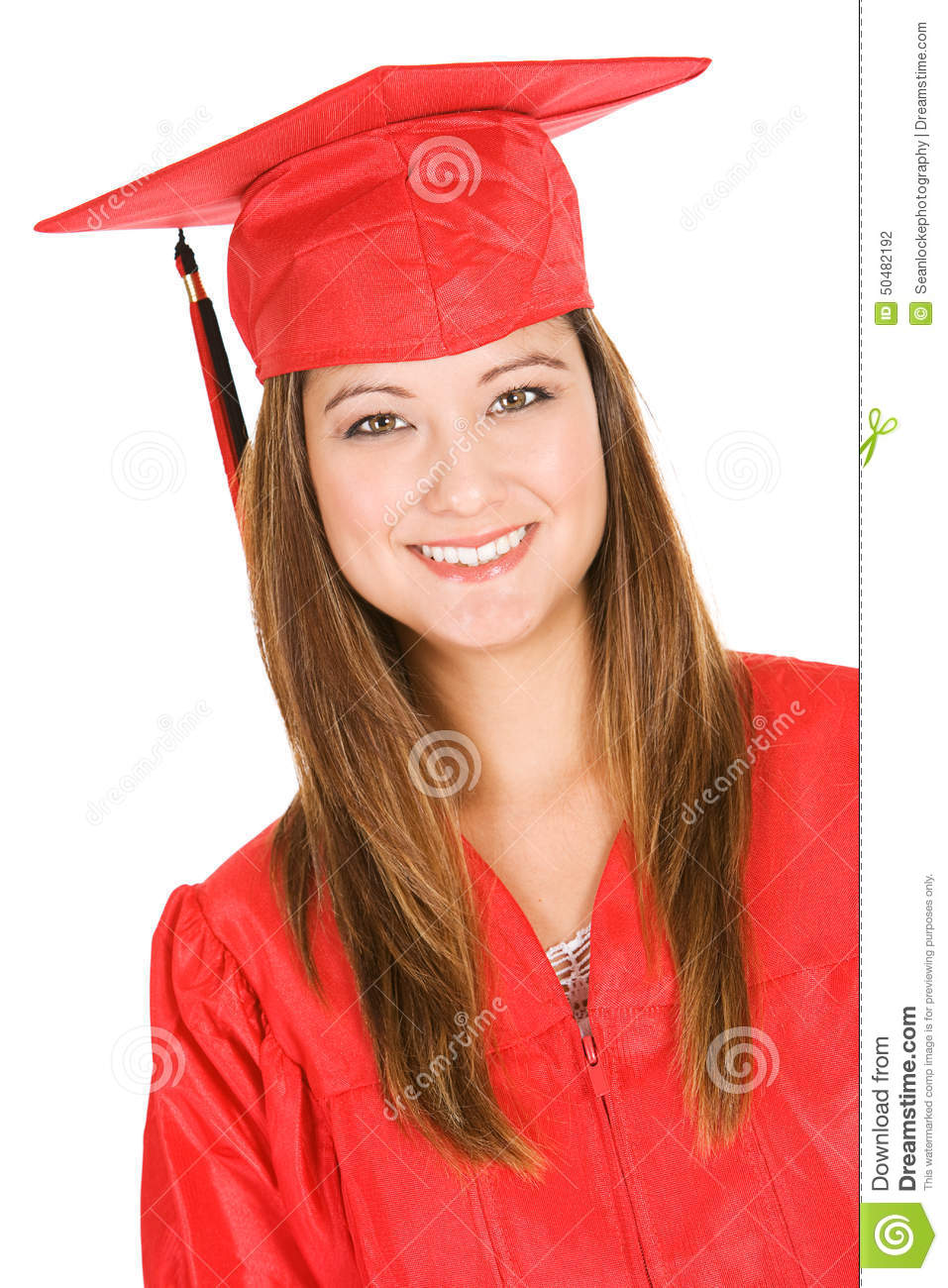 Graduate: Portrait Of Student In Red Cap And Gown Stock Photo ...