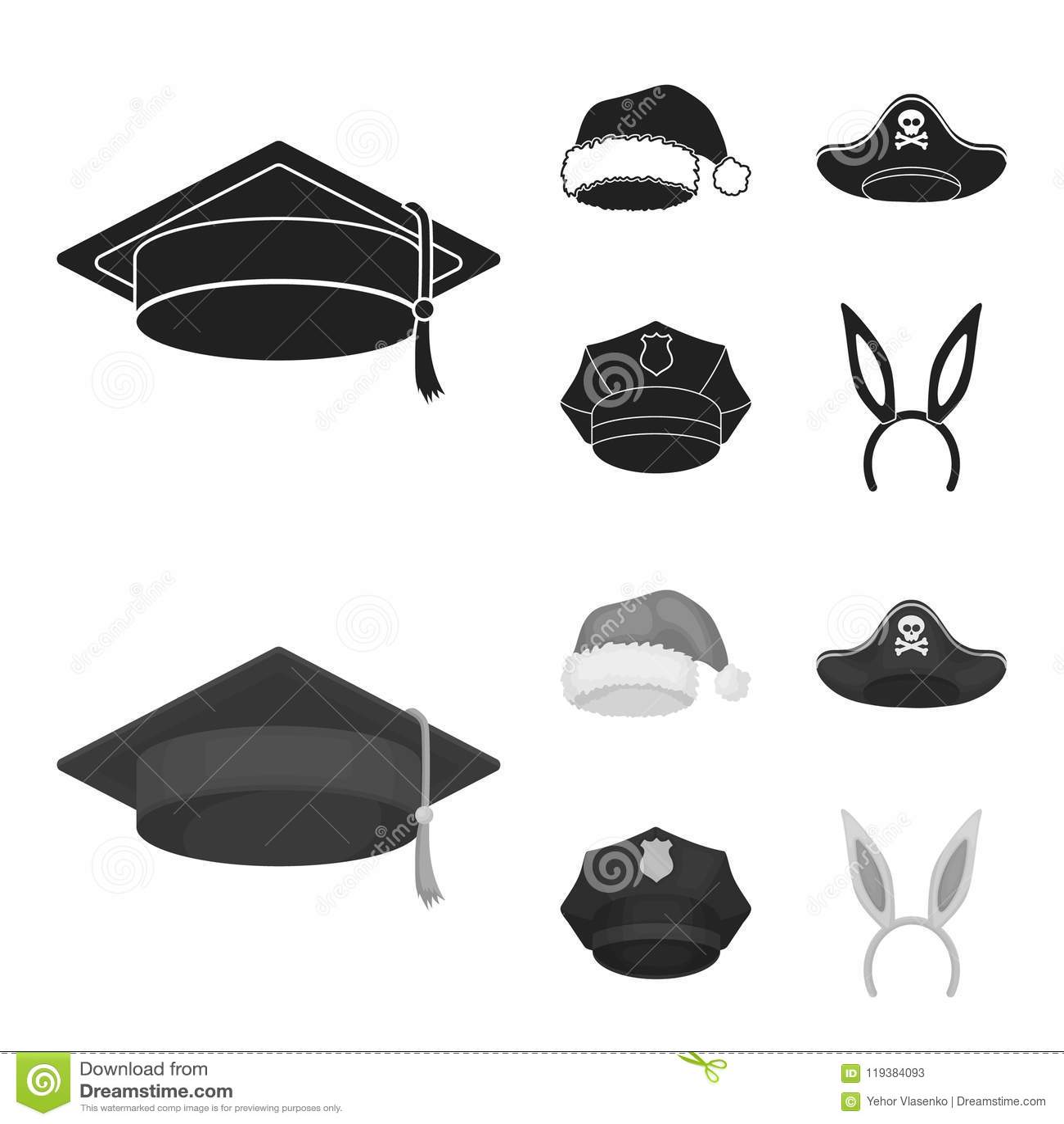 2a234897e0e Graduate, Santa, Police, Pirate. Hats Set Collection Icons In Black ...