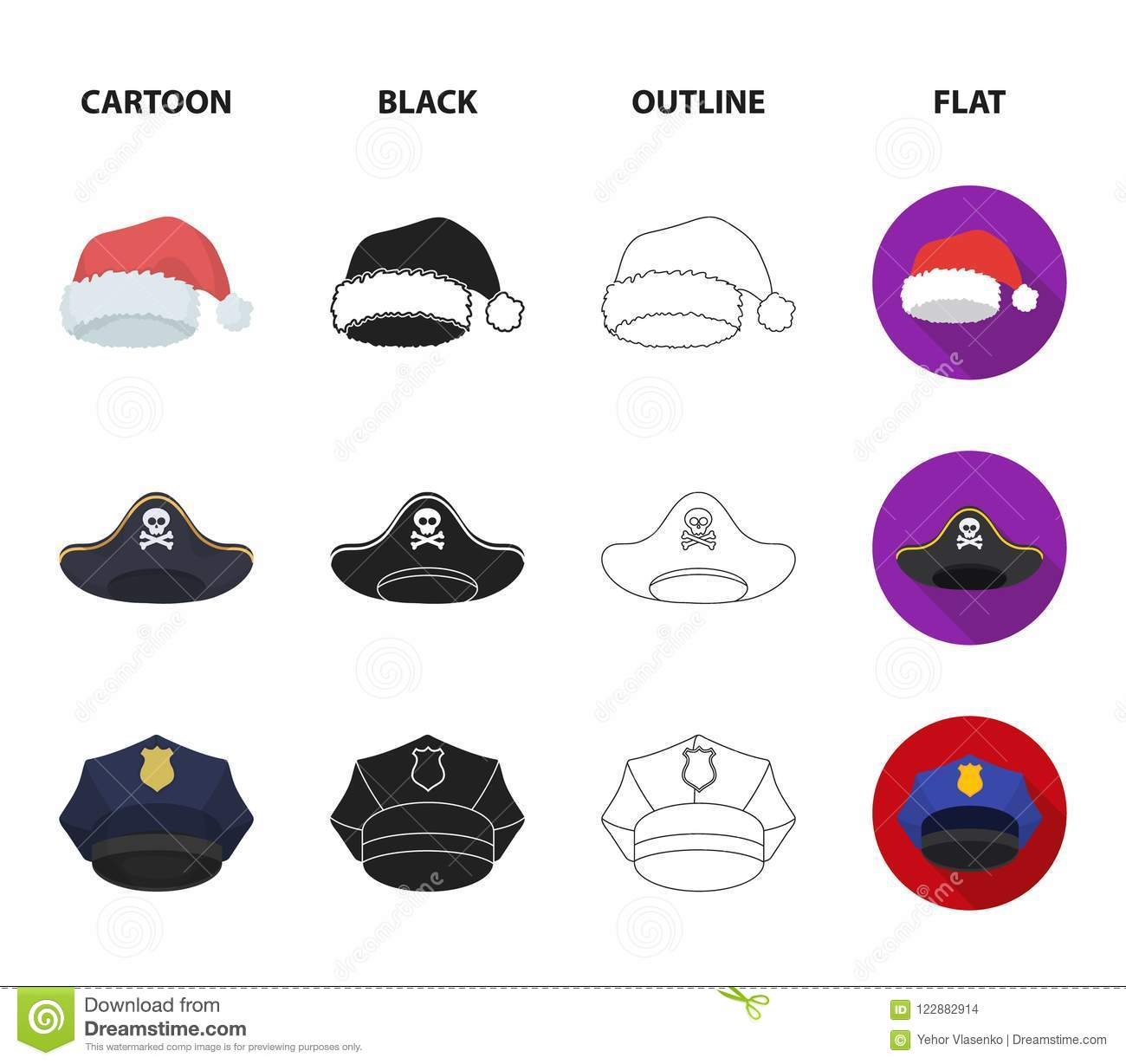 9cbc2878 Graduate, santa, police, pirate. Hats set collection icons in  cartoon,black,outline,flat style vector symbol stock illustration