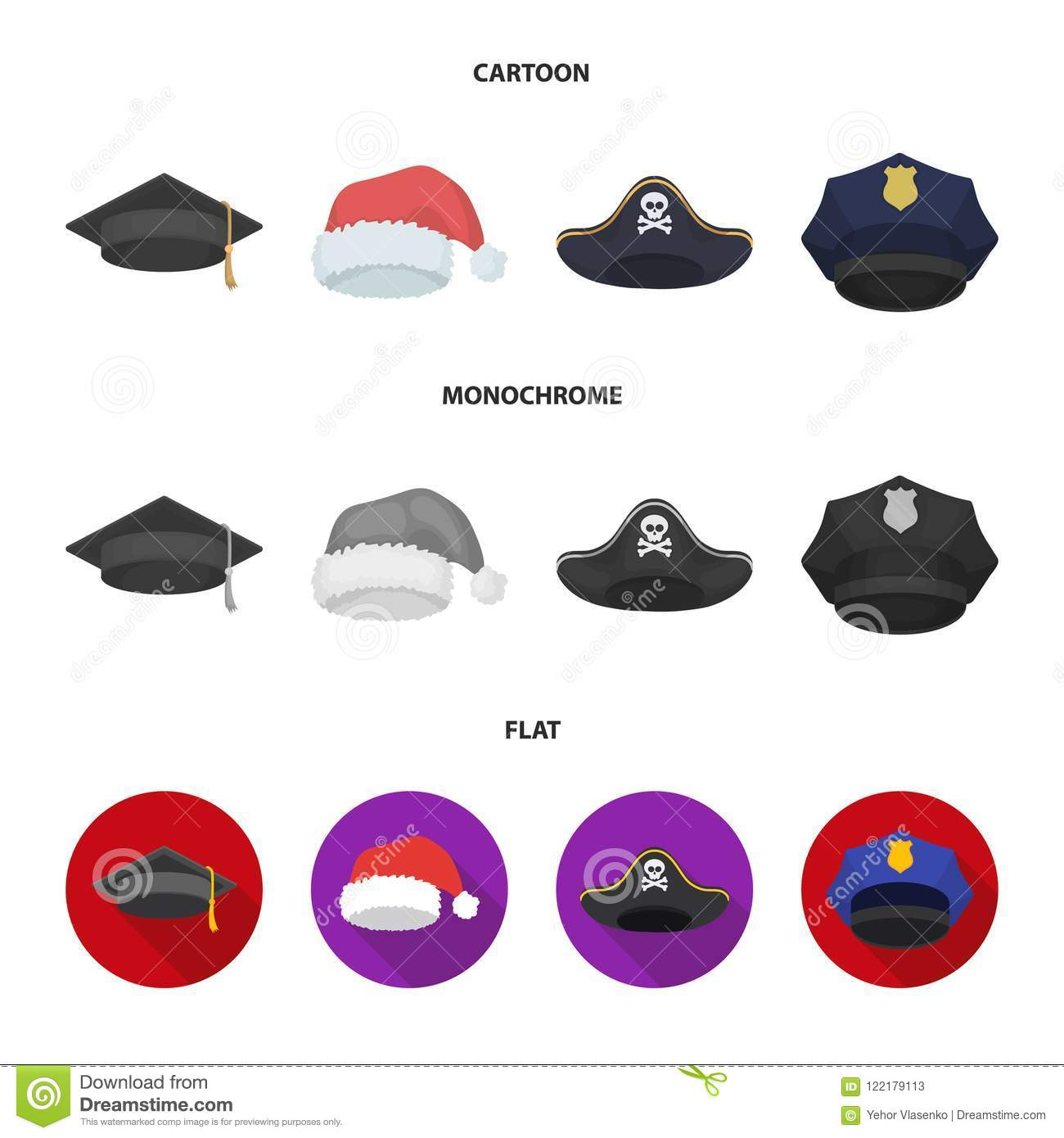 5328ce533ed Graduate, Santa, Police, Pirate. Hats Set Collection Icons In ...