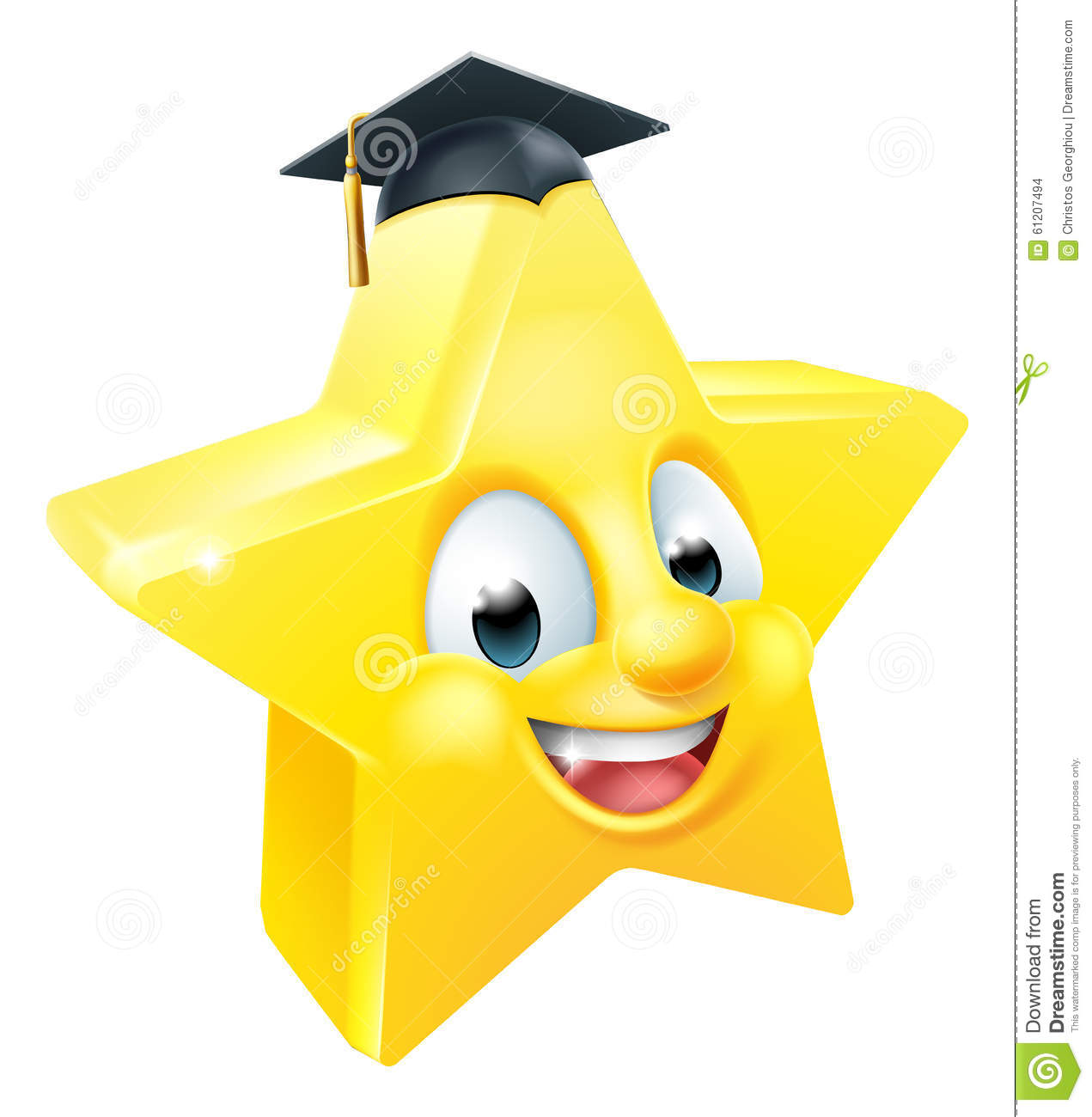 Cartoon star graduate emoji emoticon mascot character wearing a mortar ...