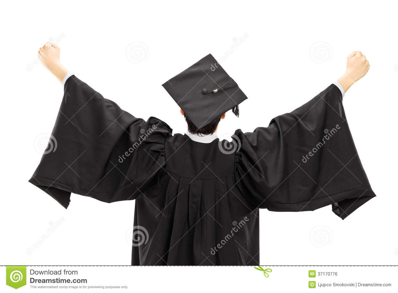 Graduate Student In Graduation Gown With Raised Hands, Rear View ...