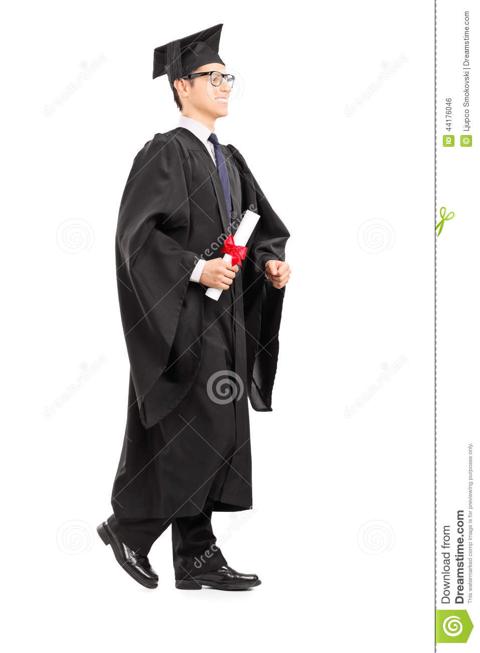 Graduate Student Walking With Diploma In His Hand Stock
