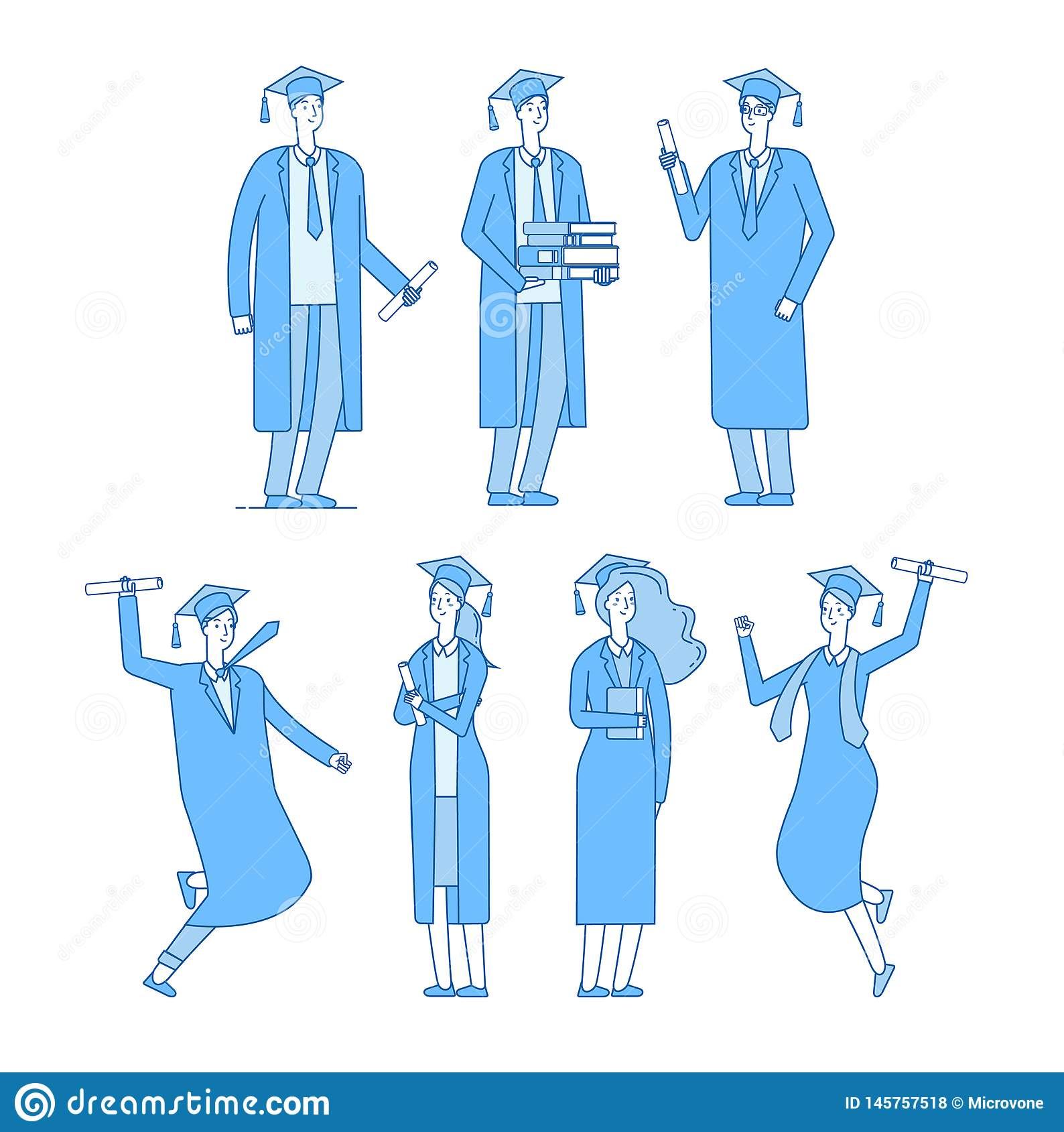 Graduate students character. Student group graduates high school graduated young male female in academic robe. Vector
