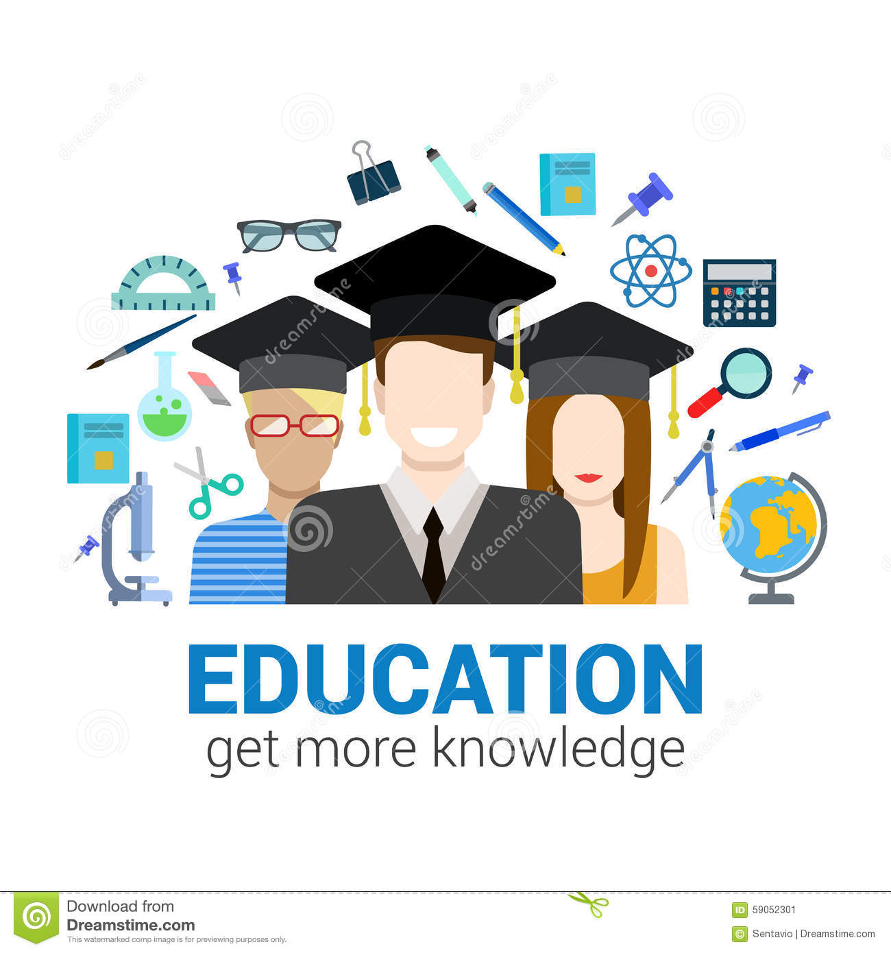 graduate students and knowledge objects education infographic stock vector