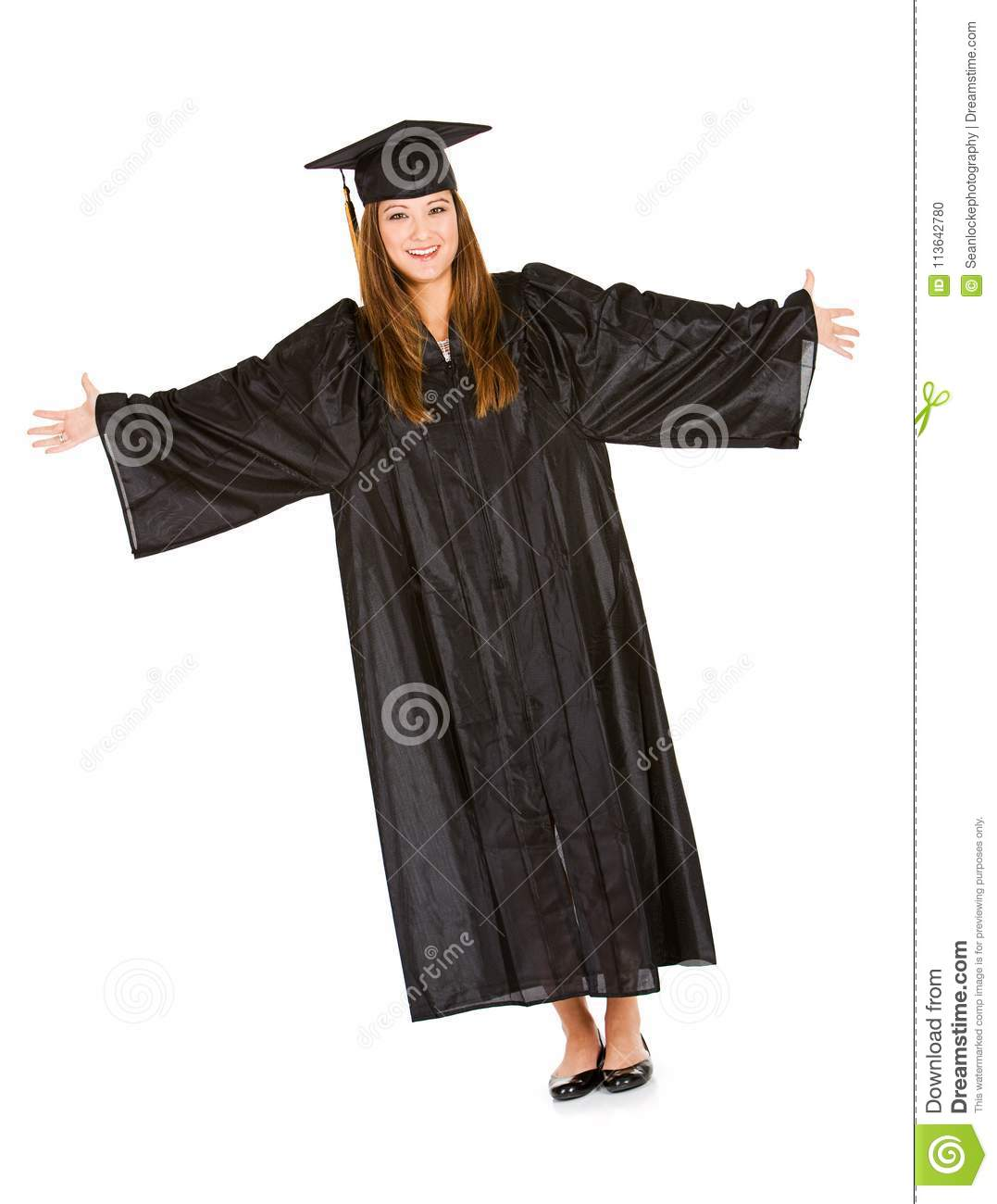 Graduate: Woman In Cap And Gown With Raised Hands Stock Photo ...