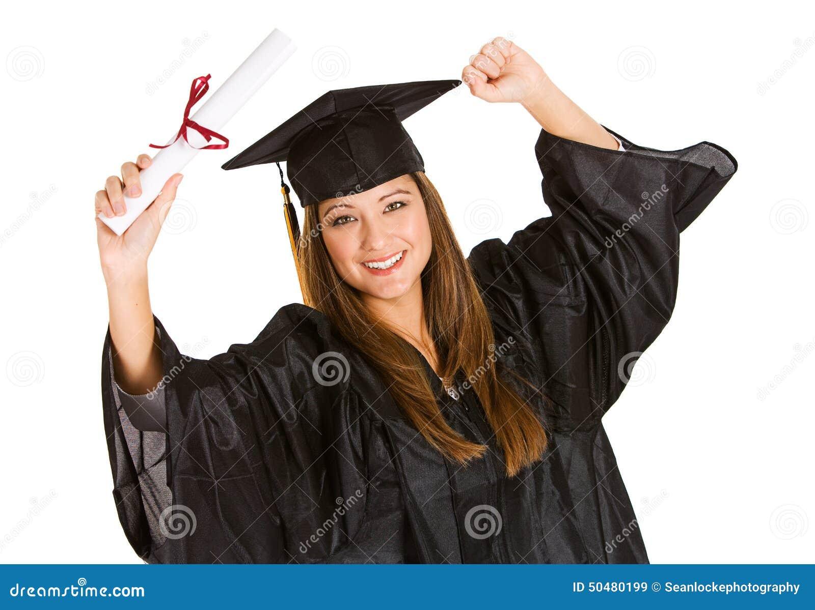 graduate woman cheering for recent graduation stock image image