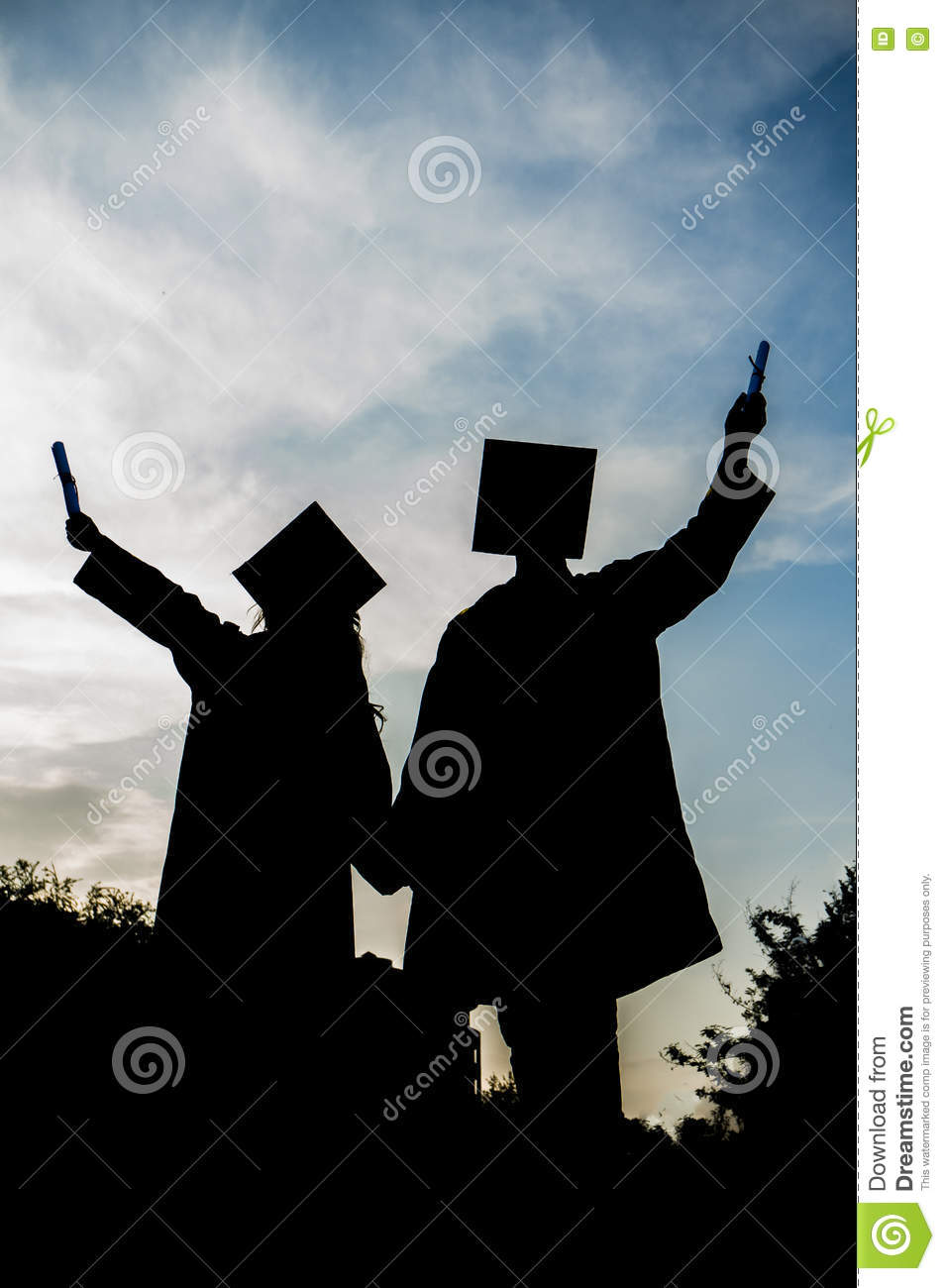 graduated girl and boy silhouette graduation student