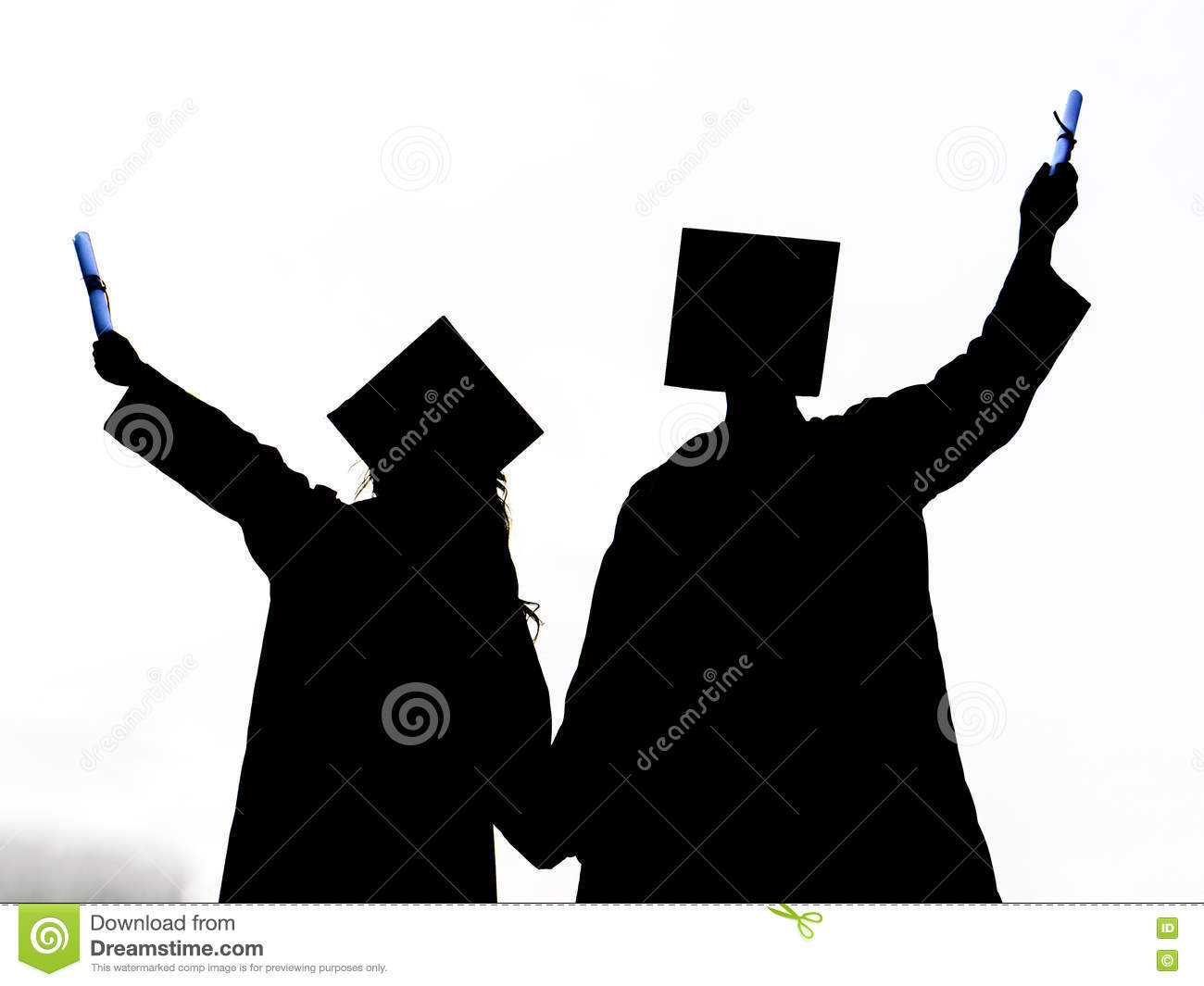 graduated girl and boy silhouette graduation student girl and boy graduate stock photo
