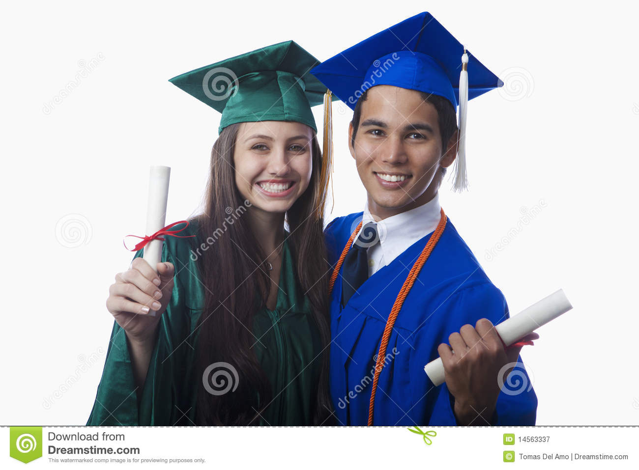 Graduates In Cap And Gown With Diploma Stock Image - Image of couple ...