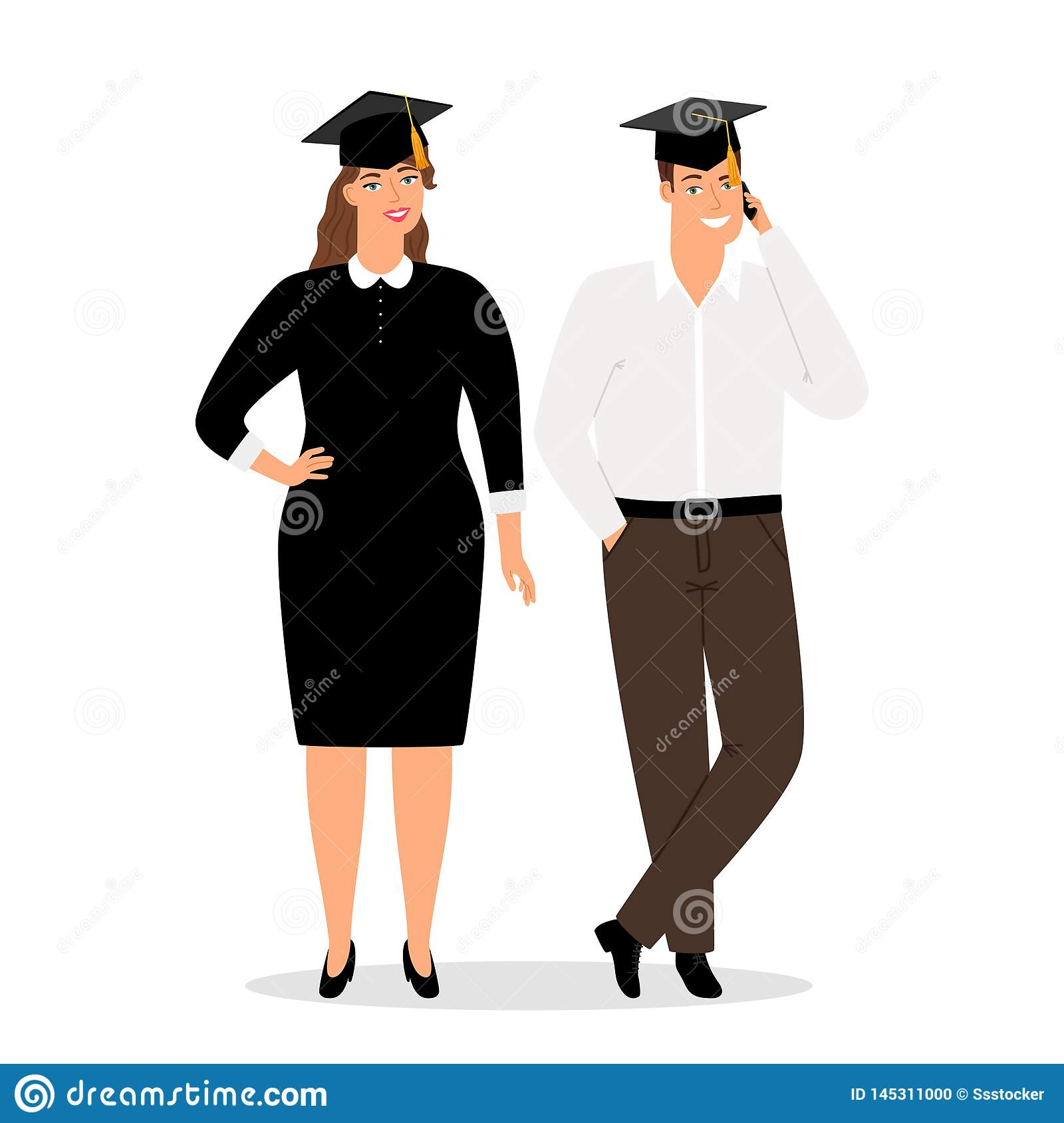 Graduates people in official clothes vector illustration